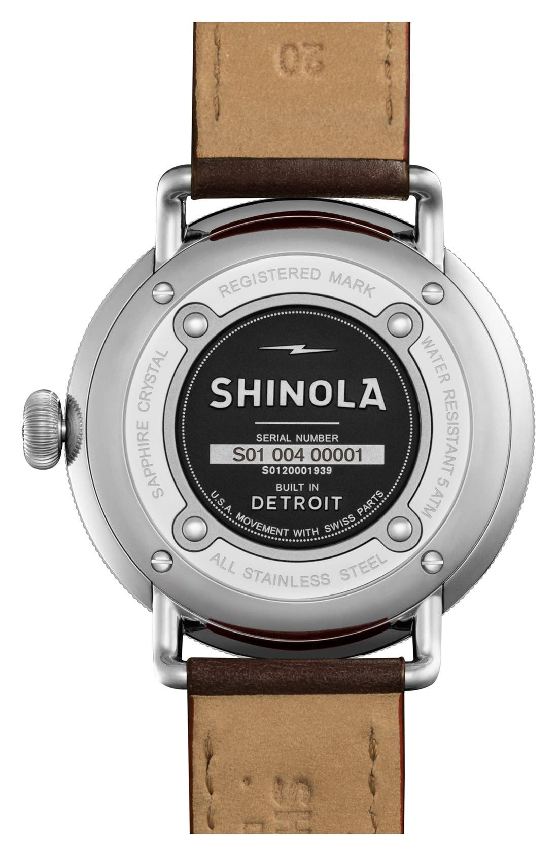 SHINOLA,                             The Canfield Leather Strap Watch, 43mm,                             Alternate thumbnail 3, color,                             DARK BROWN/ BLACK