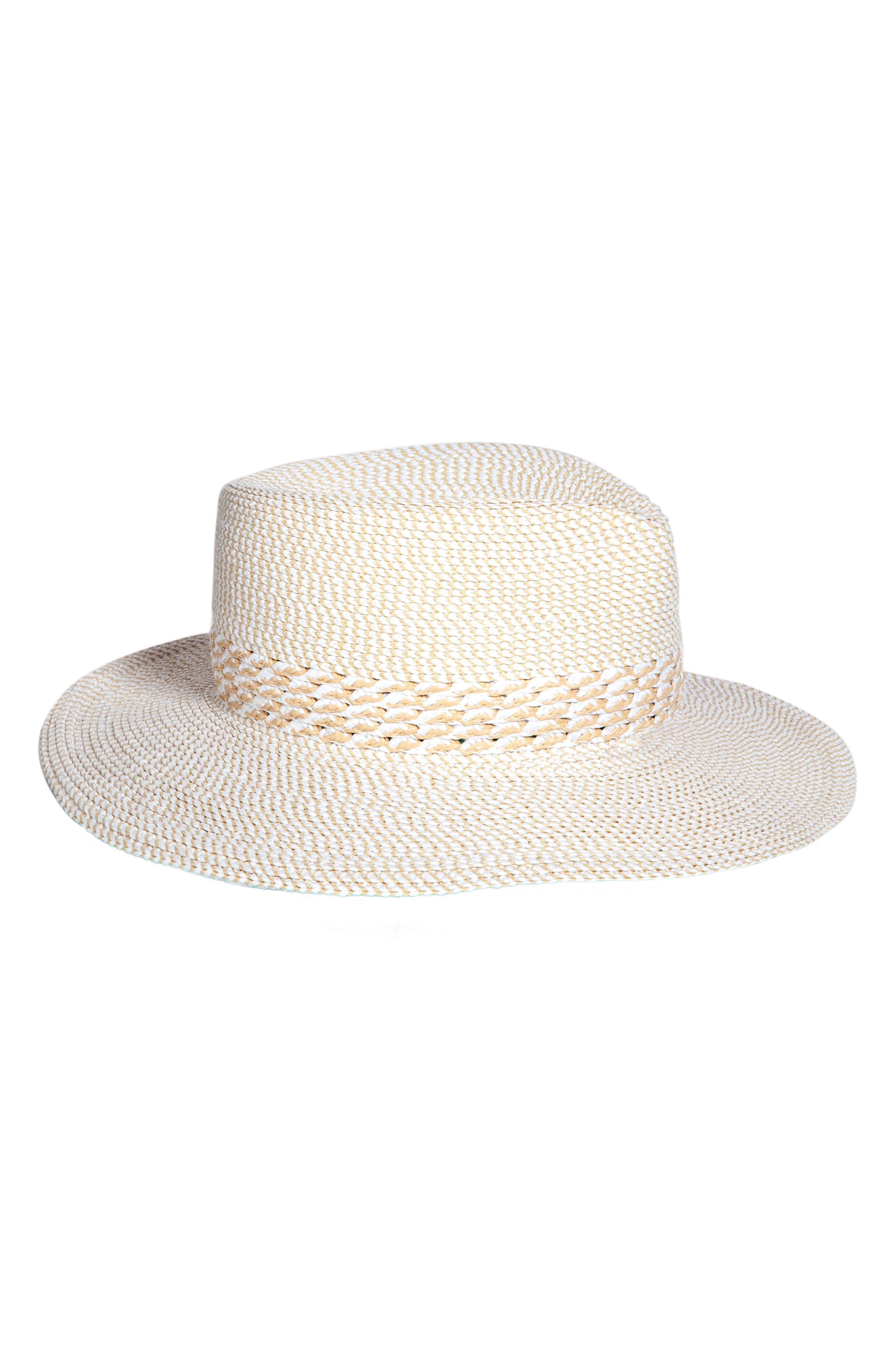 Bayou Packable Squishee<sup>®</sup> Fedora,                             Main thumbnail 1, color,                             WHITE MIX