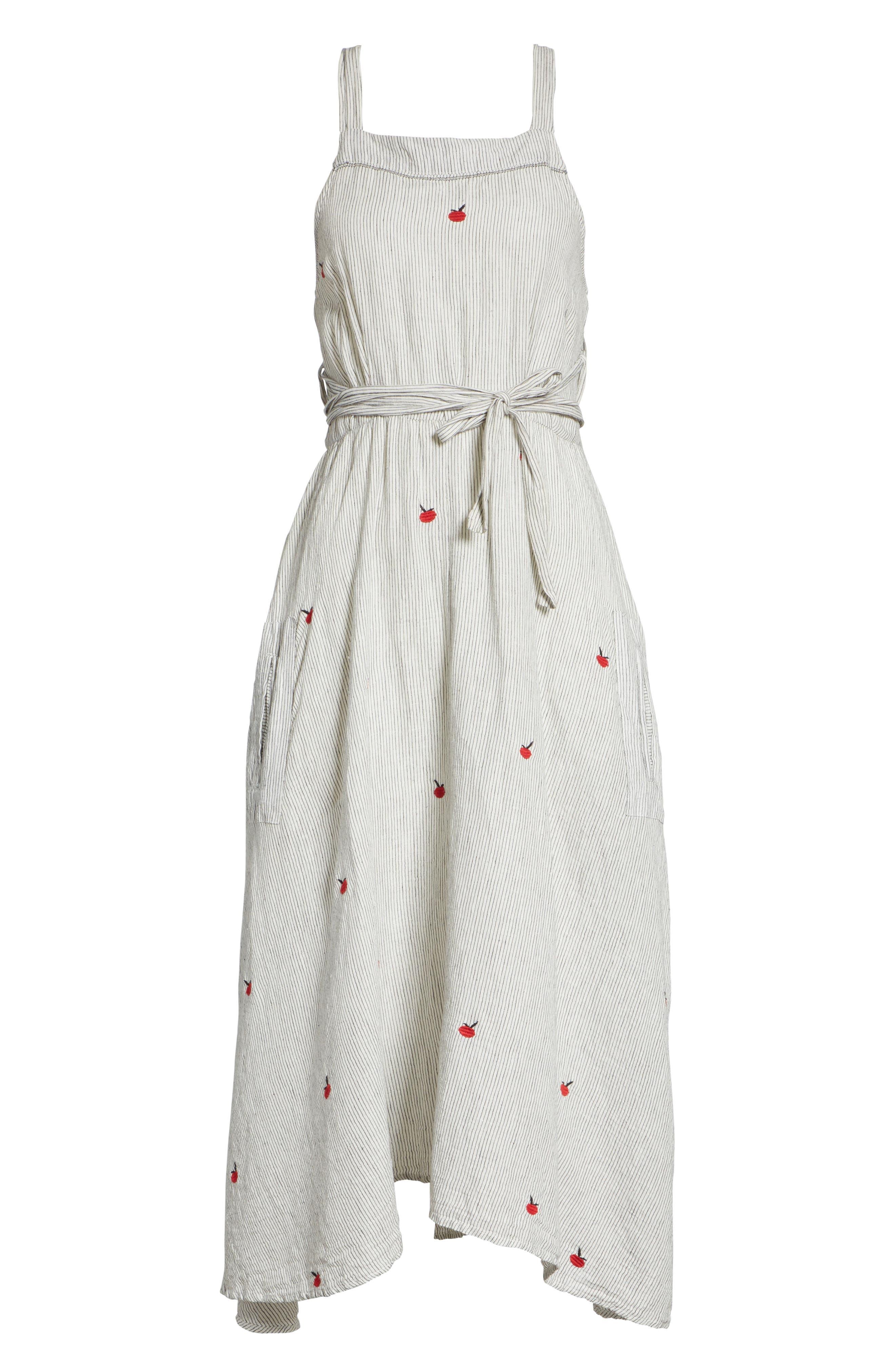 The Apron Dress,                             Alternate thumbnail 6, color,                             BLACK/ WHITE/ APPLE