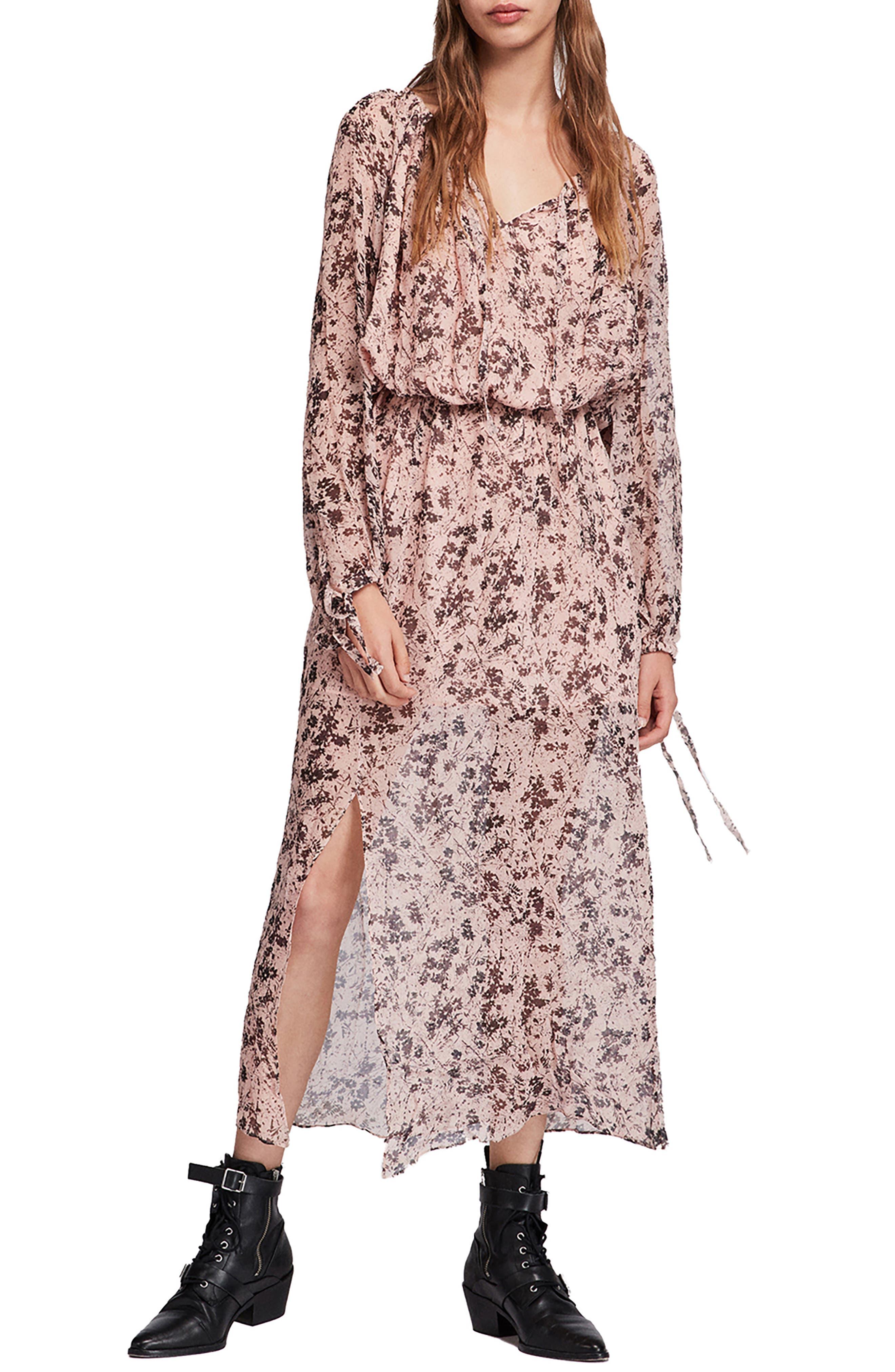 ALLSAINTS Chesca Petal Long Dress in Pink
