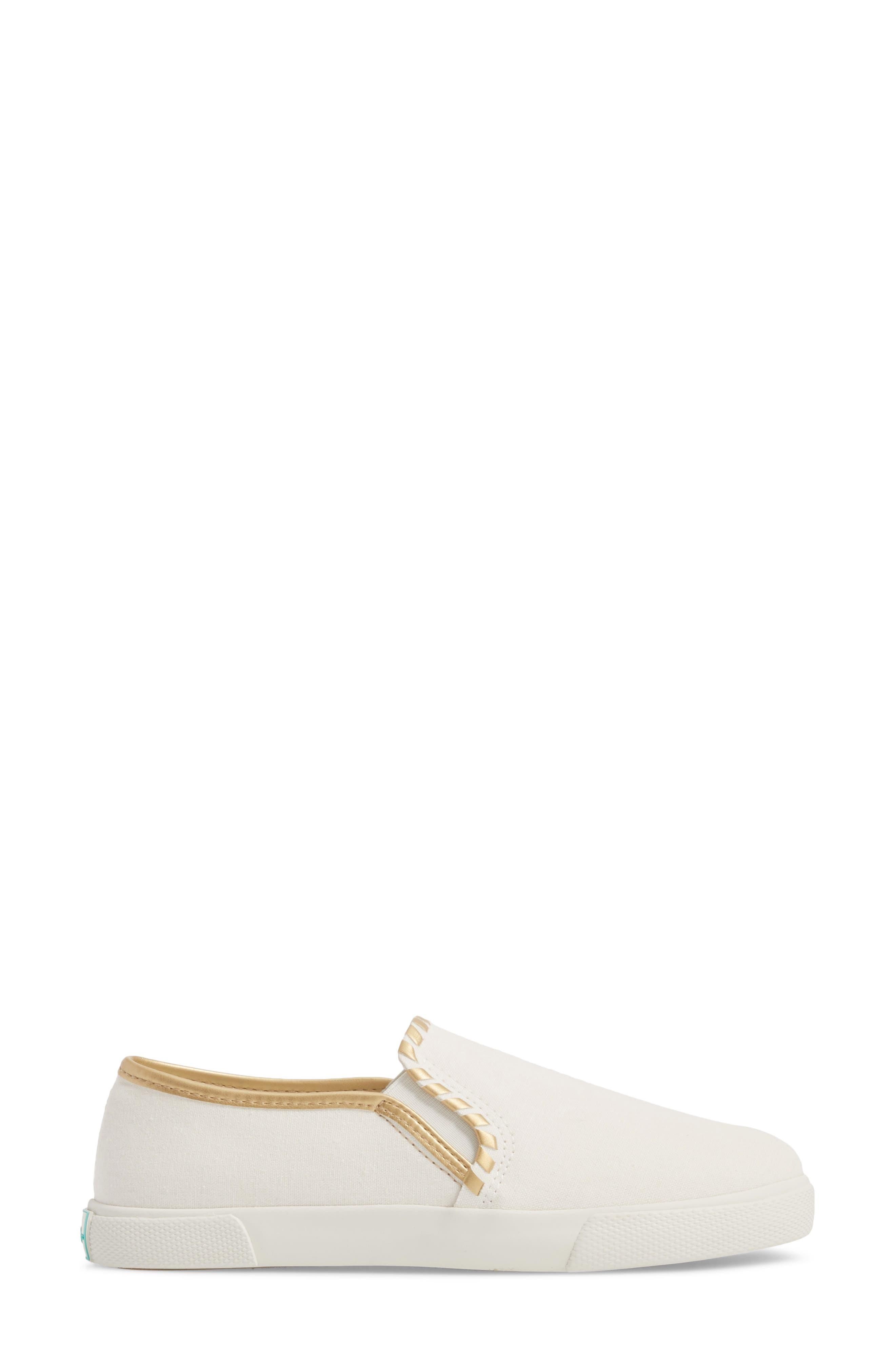 McKay Slip-On Sneaker,                             Alternate thumbnail 3, color,                             WHITE FABRIC
