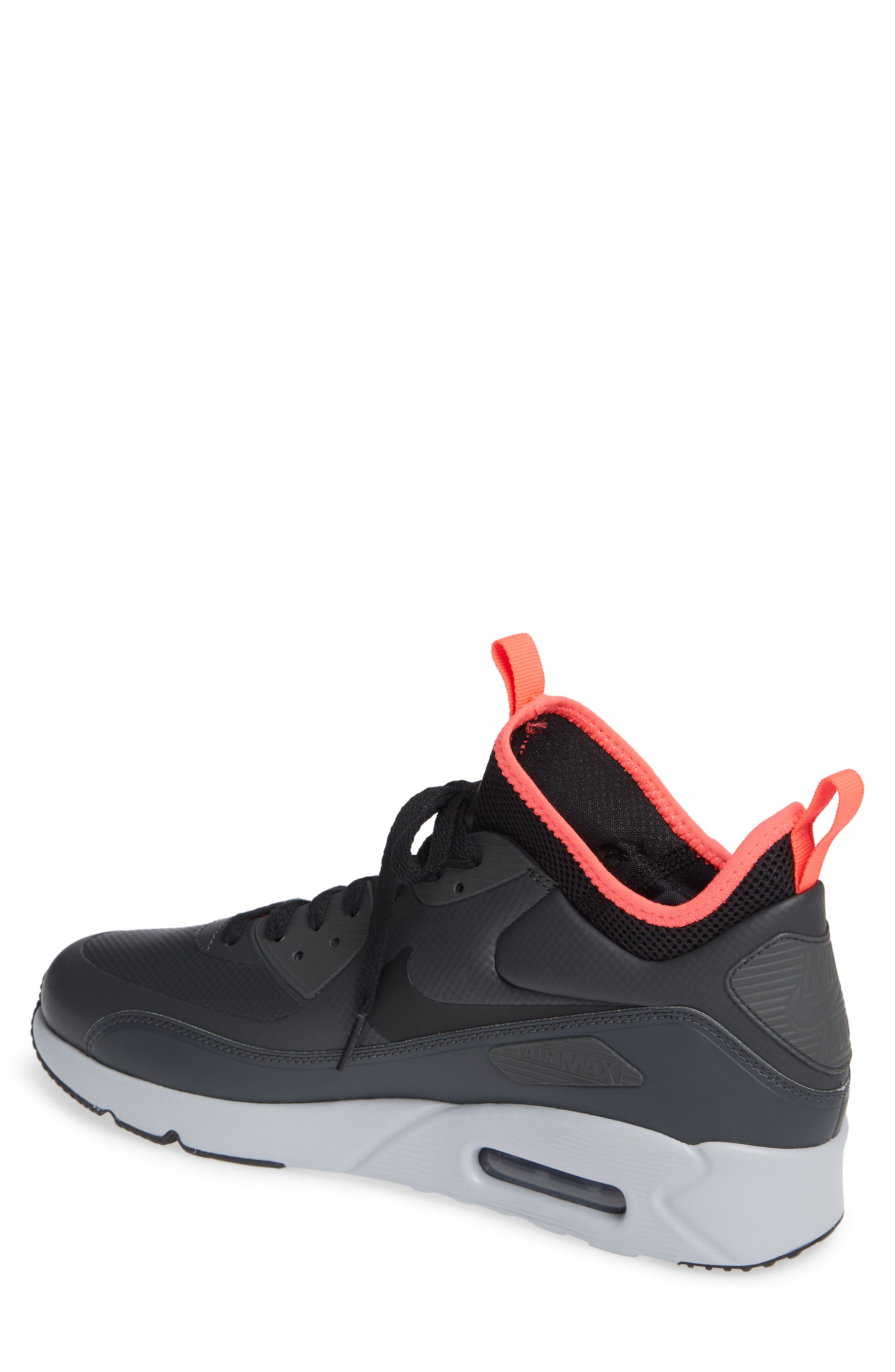 Air Max 90 Ultra Mid Winter Sneaker,                             Alternate thumbnail 2, color,                             ANTHRACITE/ BLACK/ SOLAR RED
