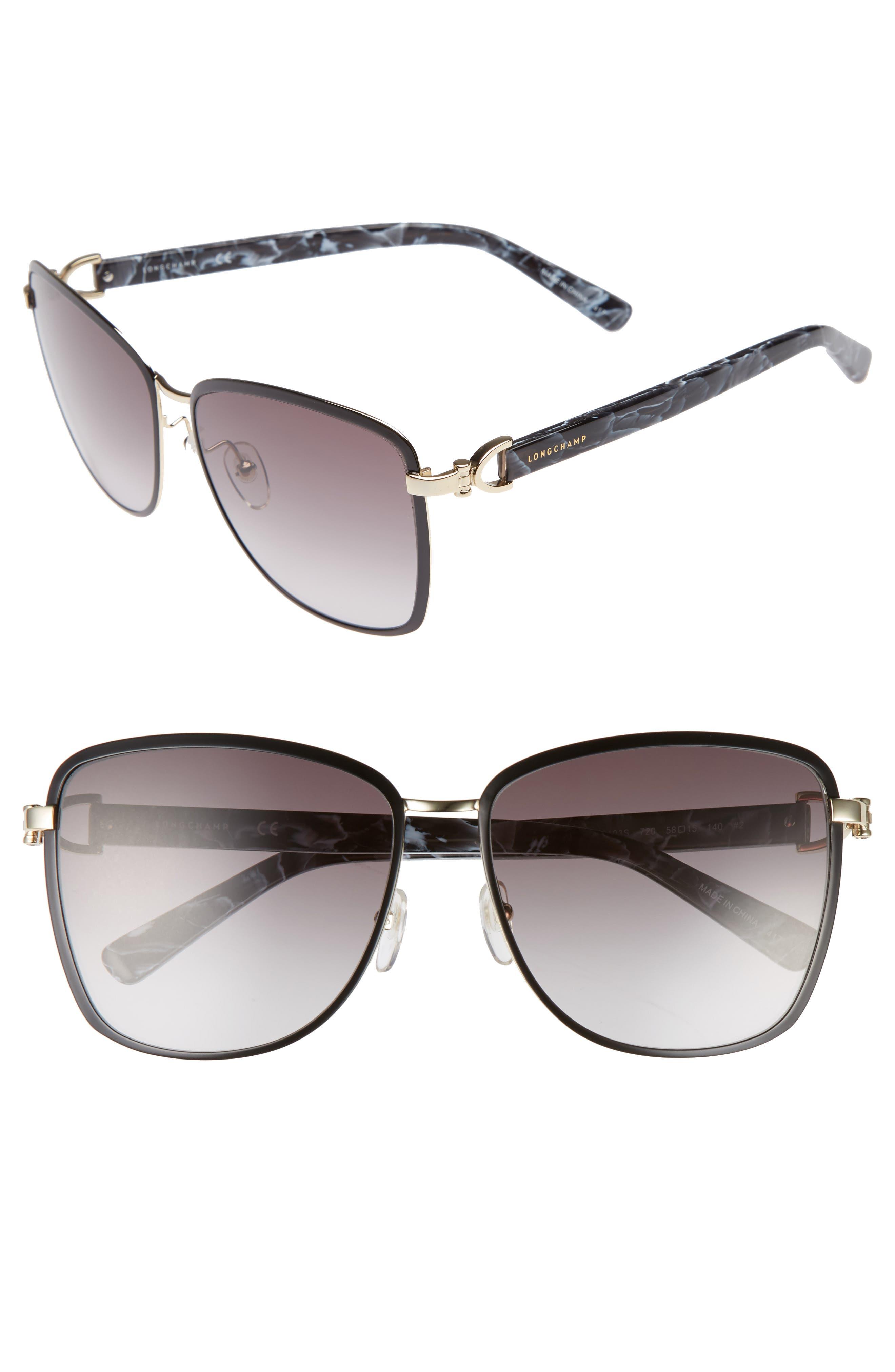 58mm Metal Sunglasses,                         Main,                         color, GOLD/ BLACK