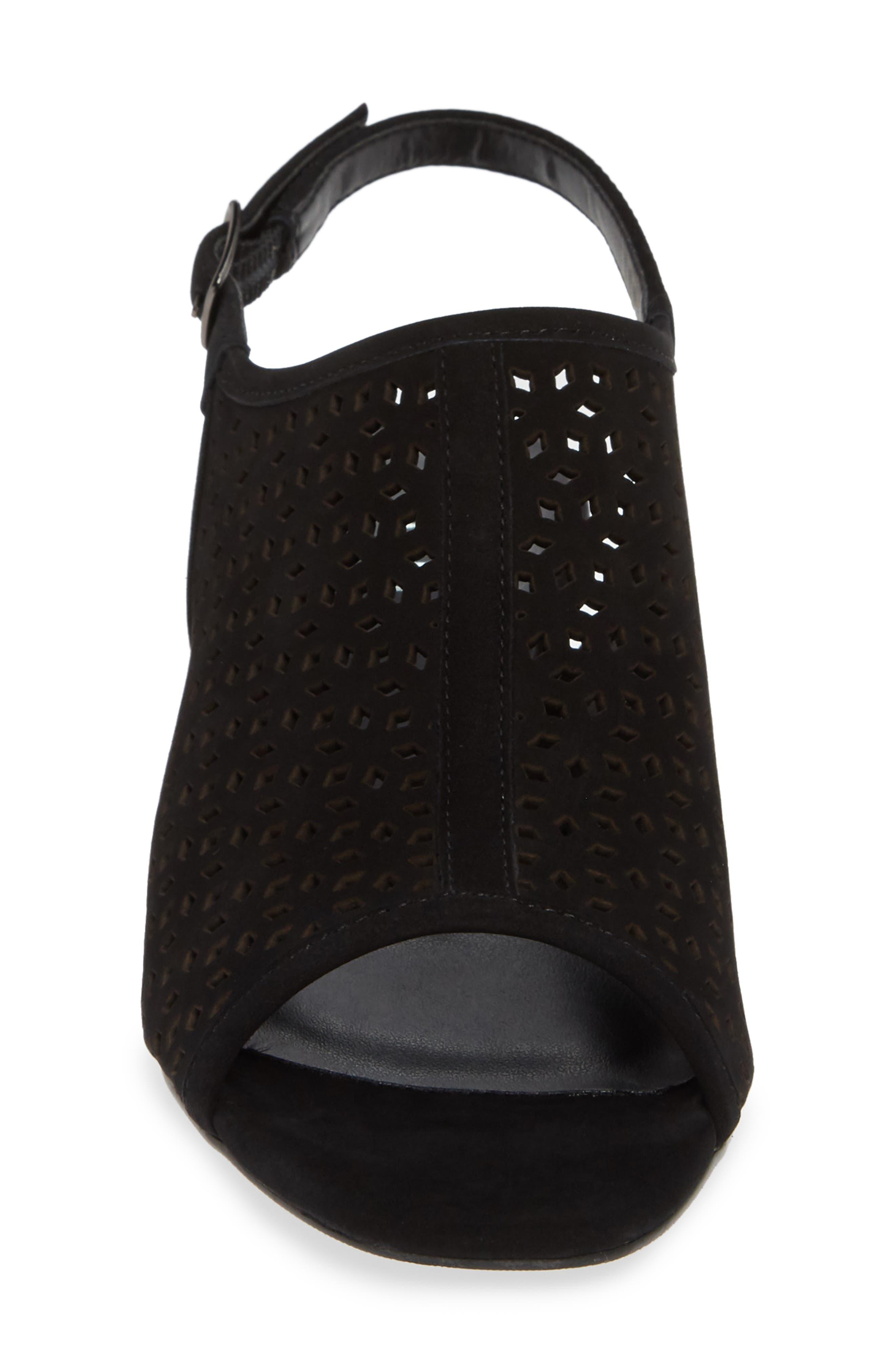 Candra Perforated Sandal,                             Alternate thumbnail 4, color,                             BLACK NUBUCK LEATHER