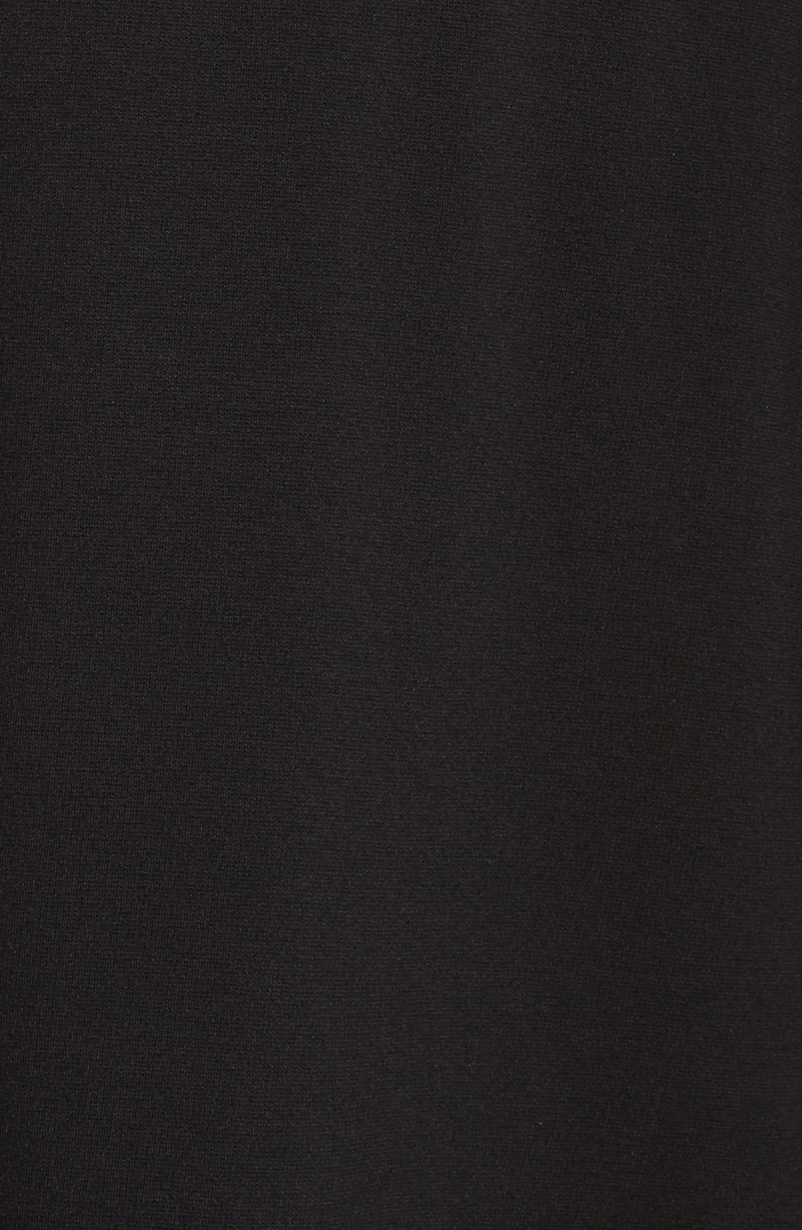 Bell Sleeve Contrast Trim Fit & Flare Dress,                             Alternate thumbnail 5, color,                             BLACK/ IVORY