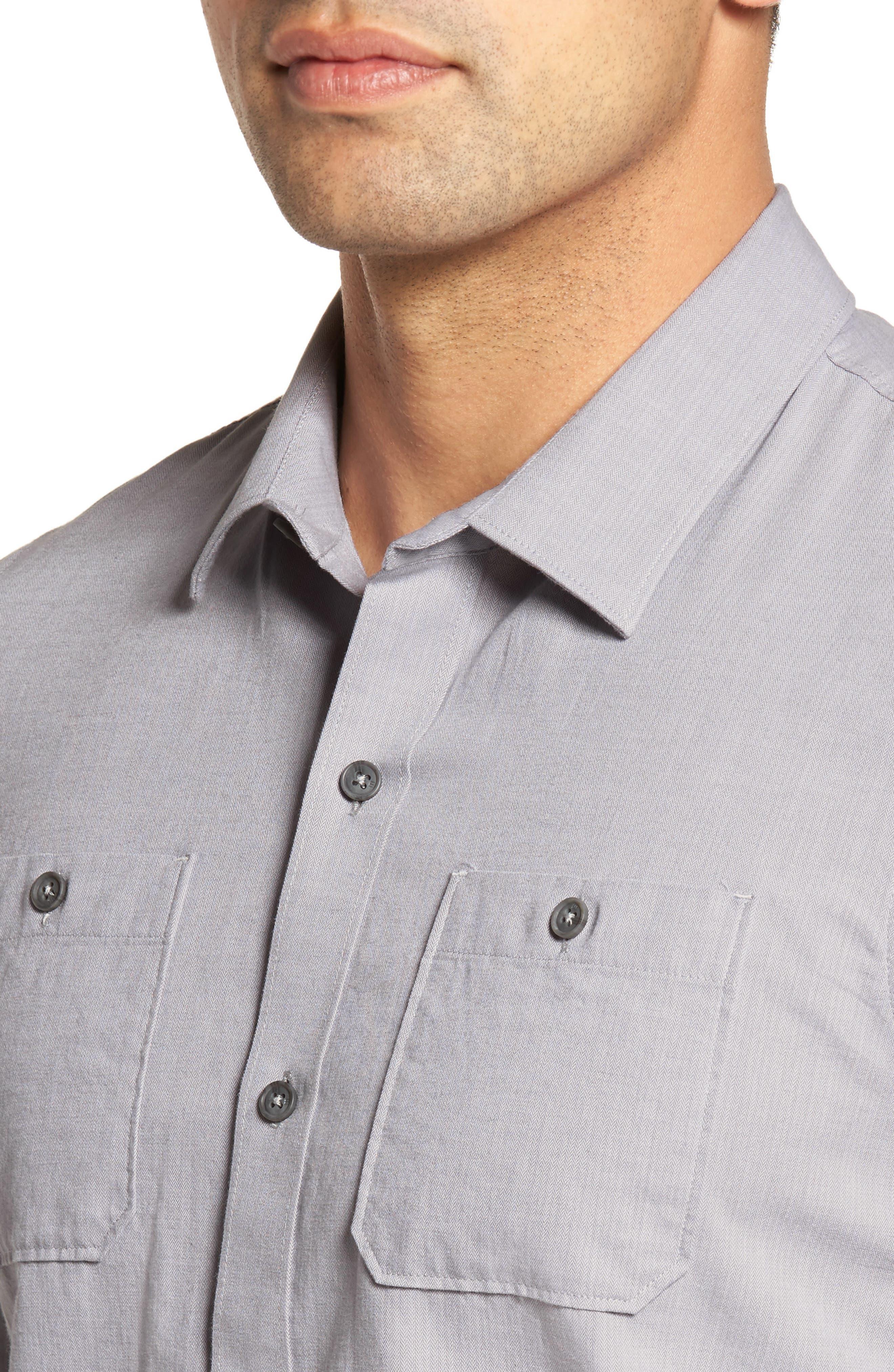 Gotemba Slim Fit Herringbone Sport Shirt,                             Alternate thumbnail 4, color,