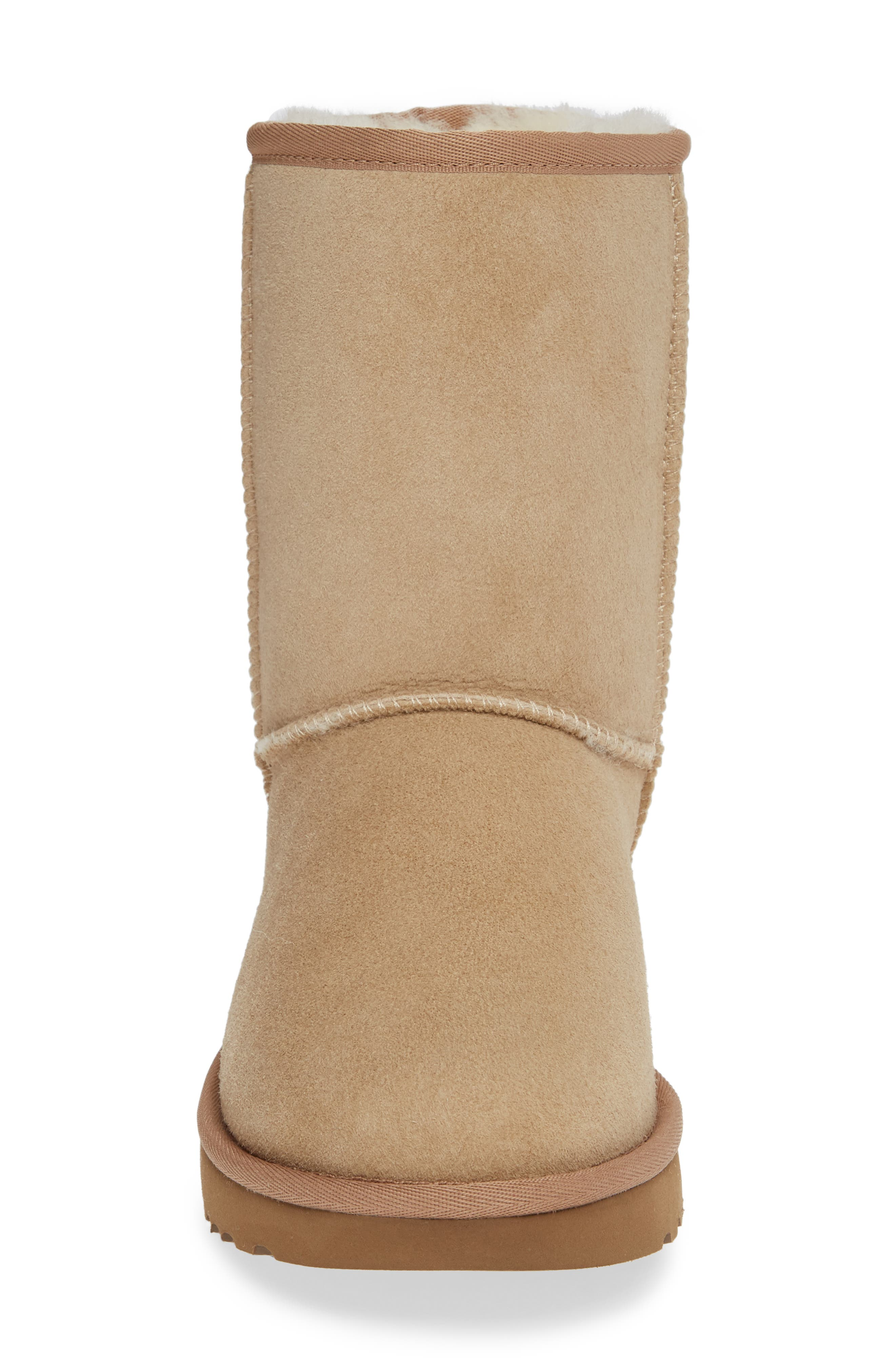Classic Short 40:40:40 Genuine Shearling Boot,                             Alternate thumbnail 4, color,                             SAND SUEDE