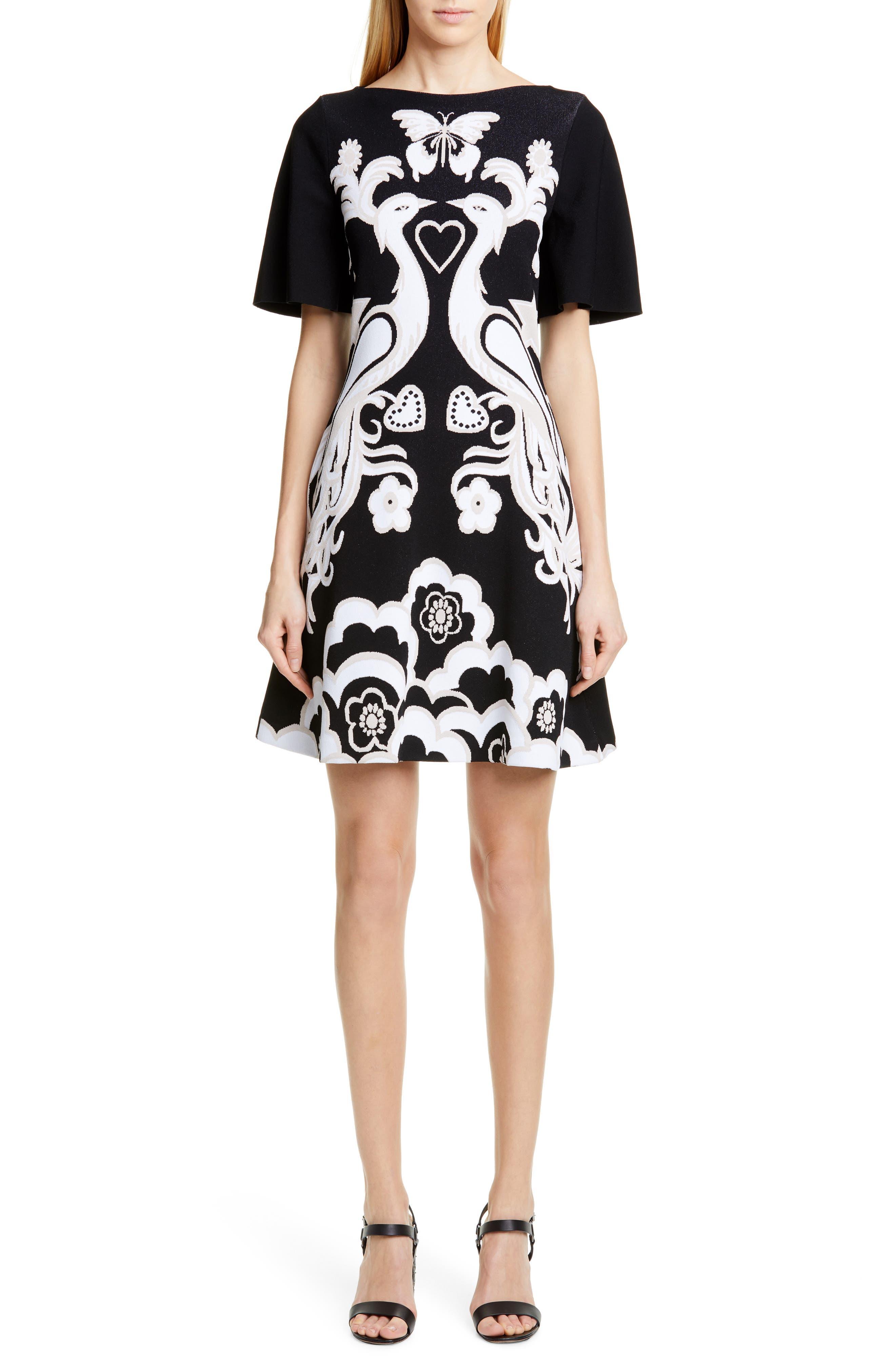 Valentino Jacquard Bird Shift Dress, Black