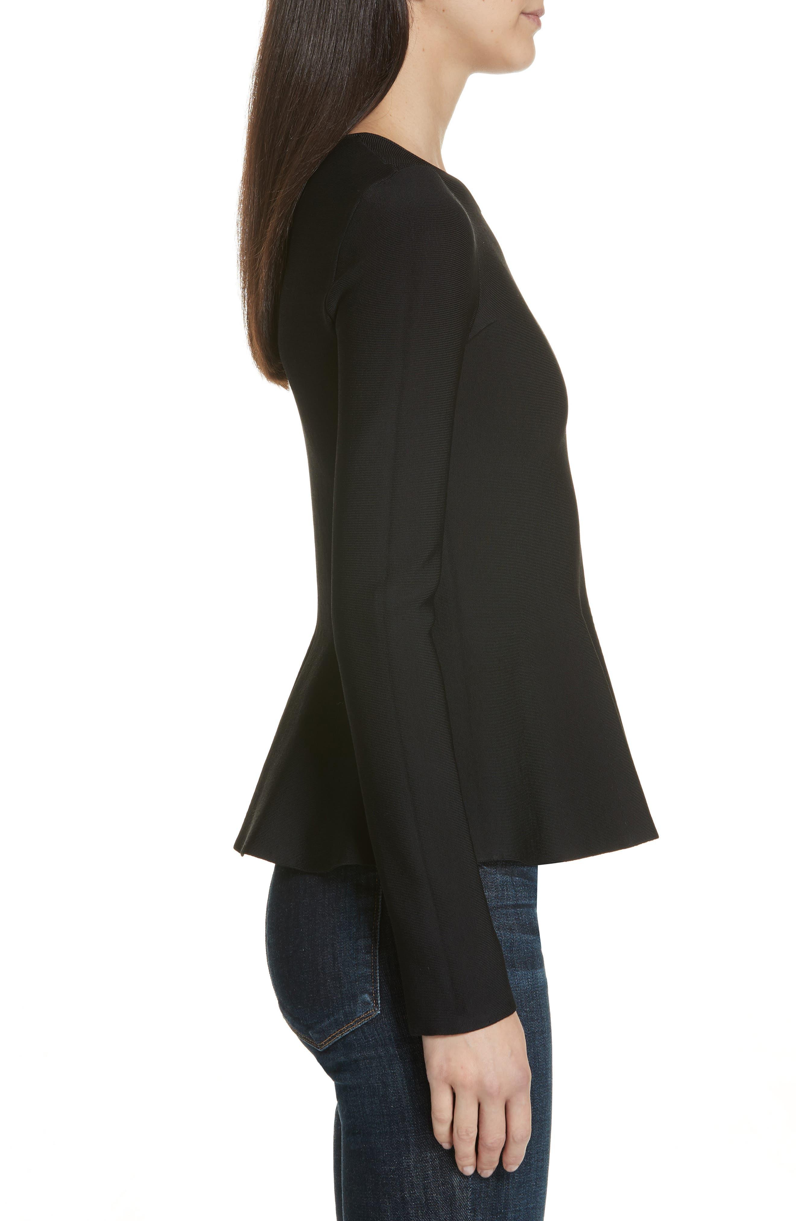Glossed Peplum Sweater,                             Alternate thumbnail 3, color,                             BLACK