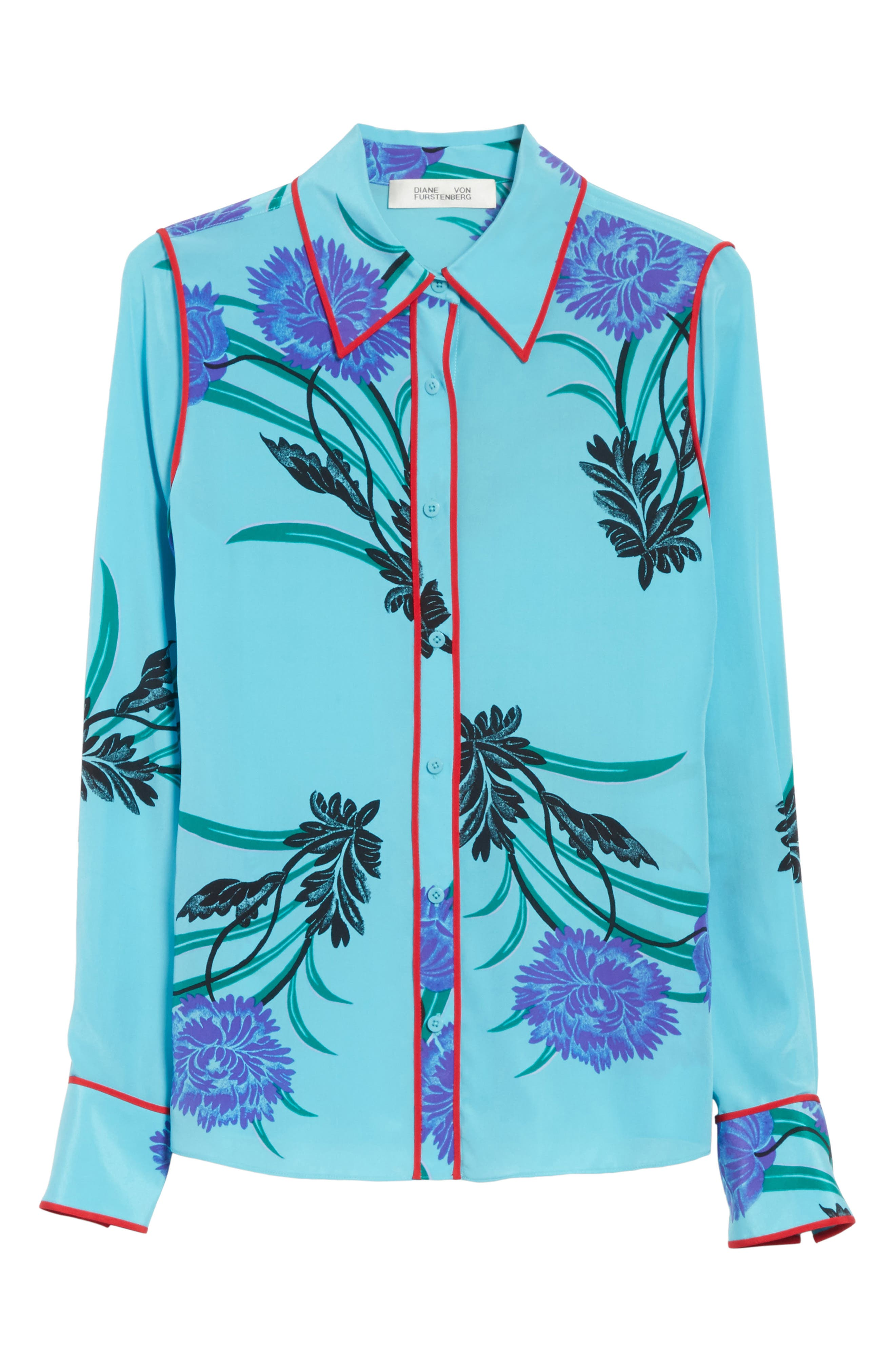 Floral Print Stretch Silk Shirt,                             Alternate thumbnail 6, color,                             440