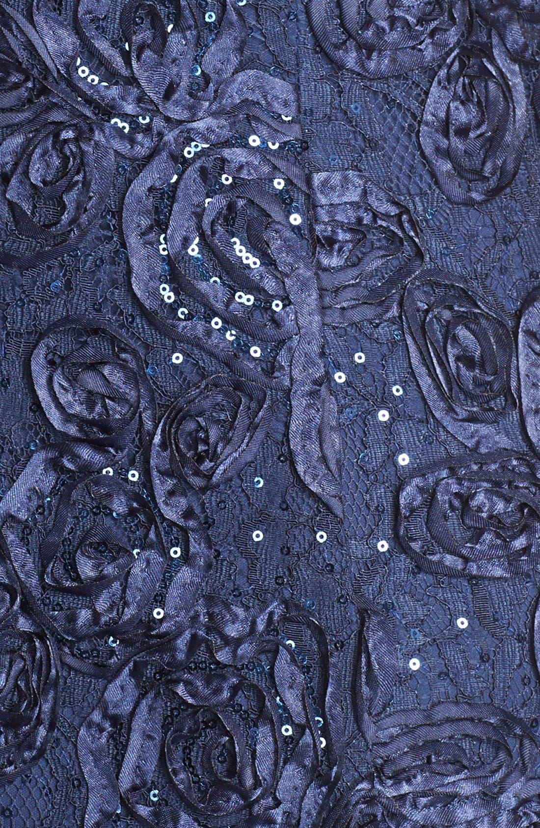 Rosette Lace Short Sleeve A-Line Gown,                             Alternate thumbnail 10, color,                             NAVY
