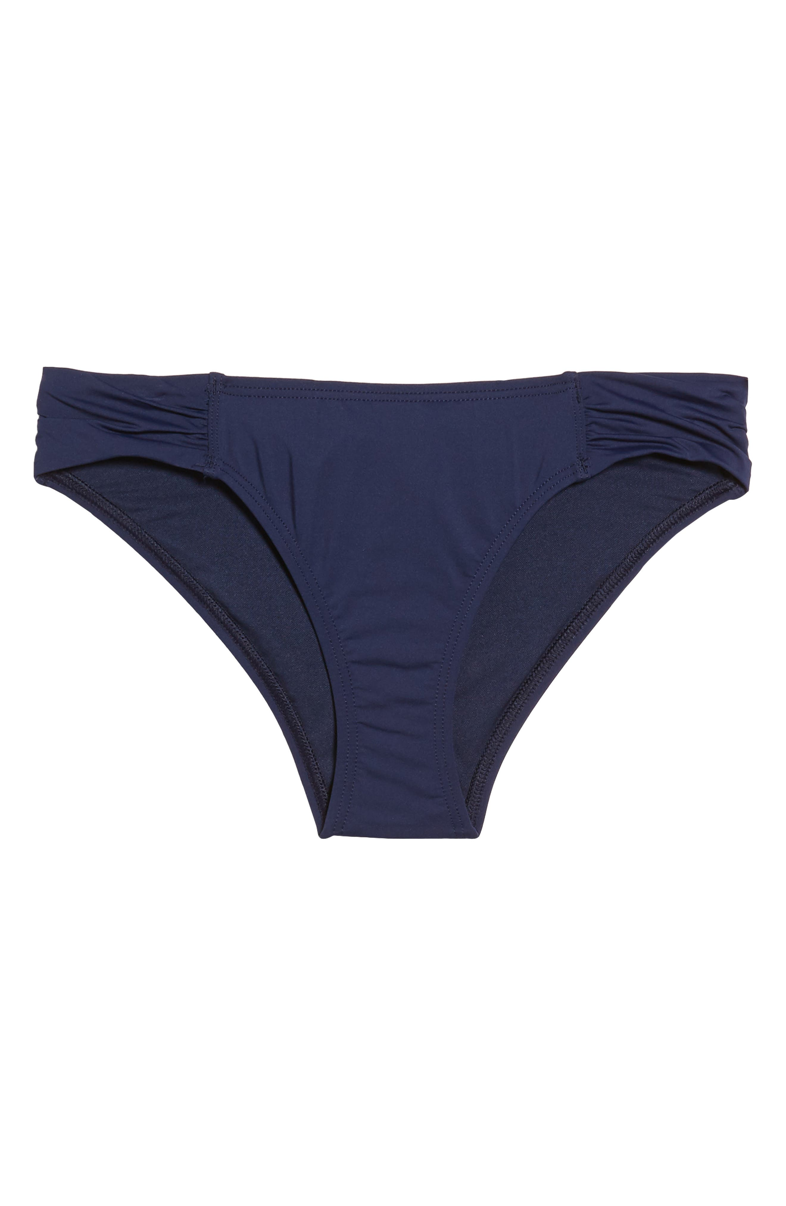 Pearl Shirred-Side Solid Hipster Swim Bikini Bottom in Mare Navy