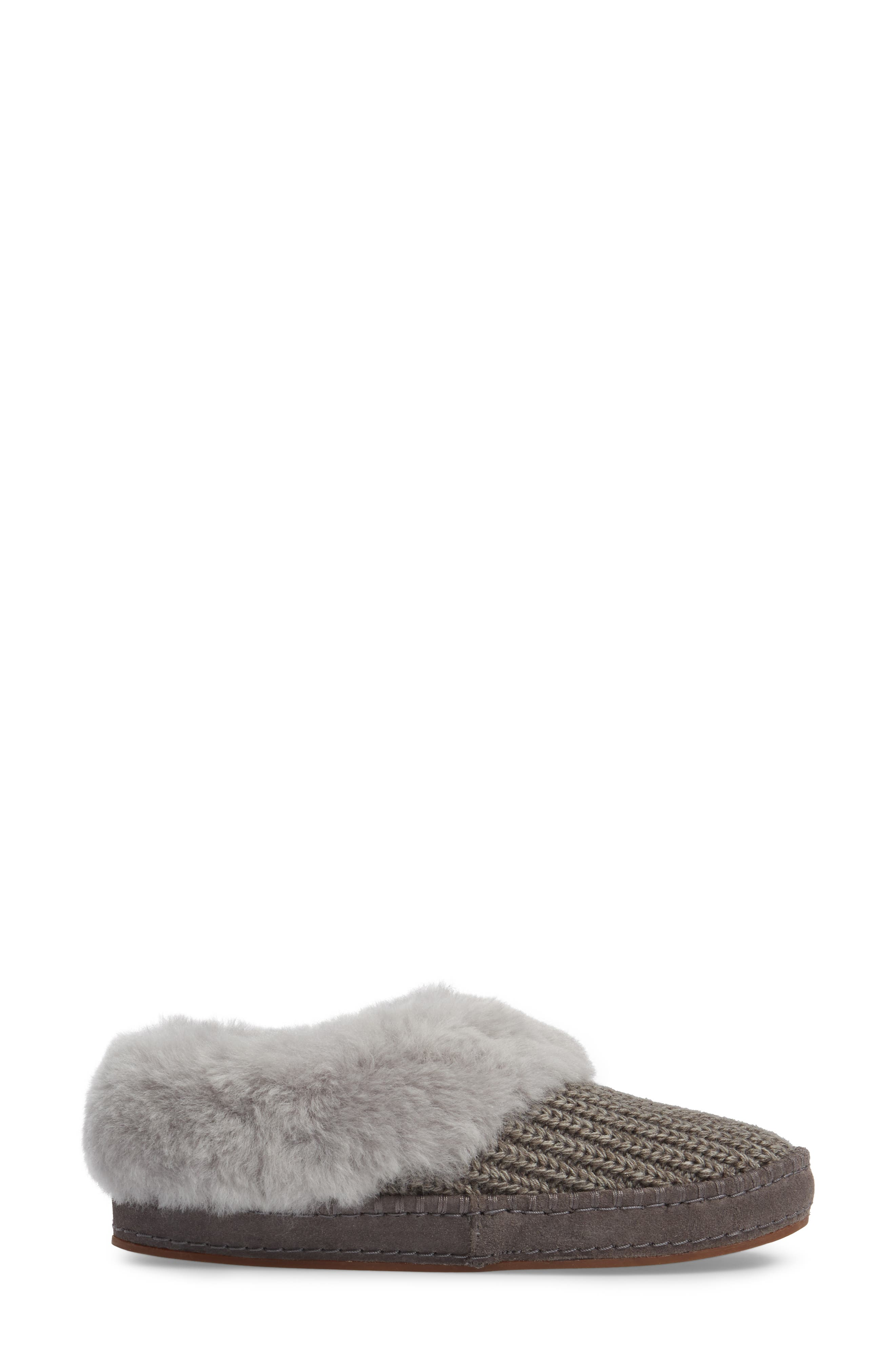 Wrin Rib-Knit & Genuine Shearling Slipper,                             Alternate thumbnail 3, color,                             020