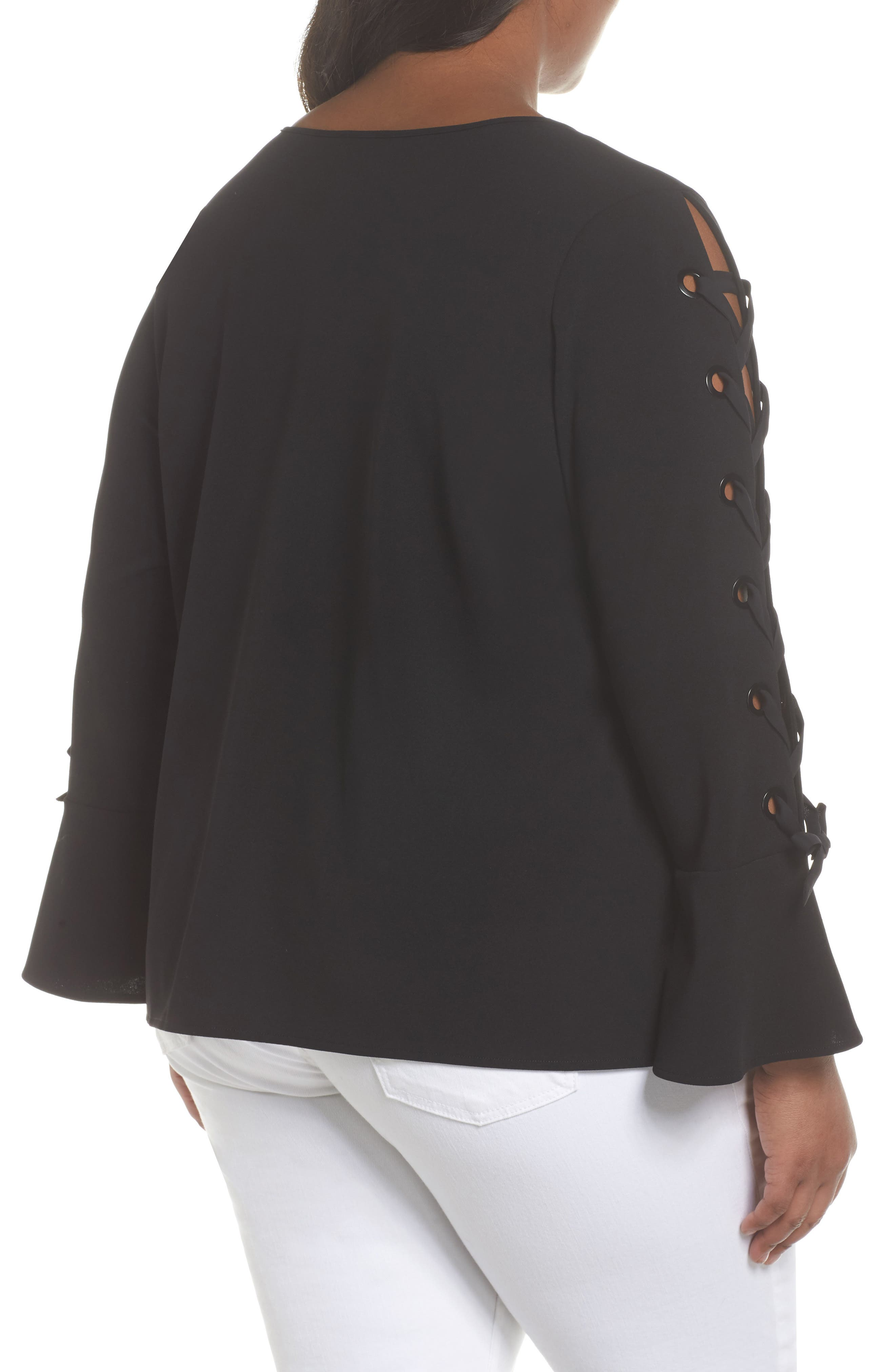 Lace-Up Bell Sleeve Top,                             Alternate thumbnail 3, color,