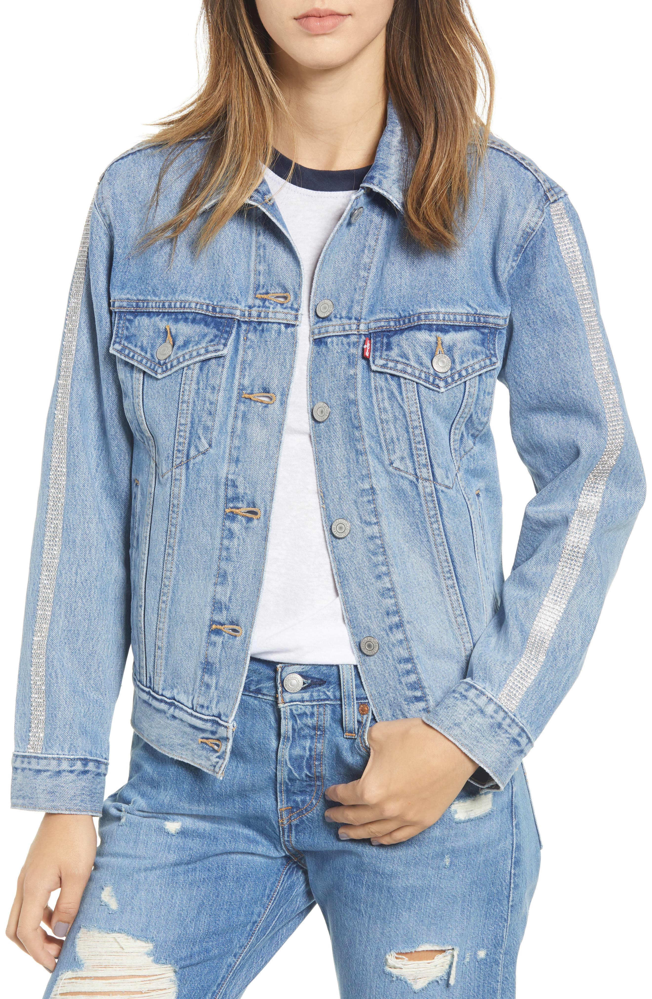 Ex-Boyfriend Tux Stripe Denim Trucker Jacket,                         Main,                         color, IN THE ROUGH