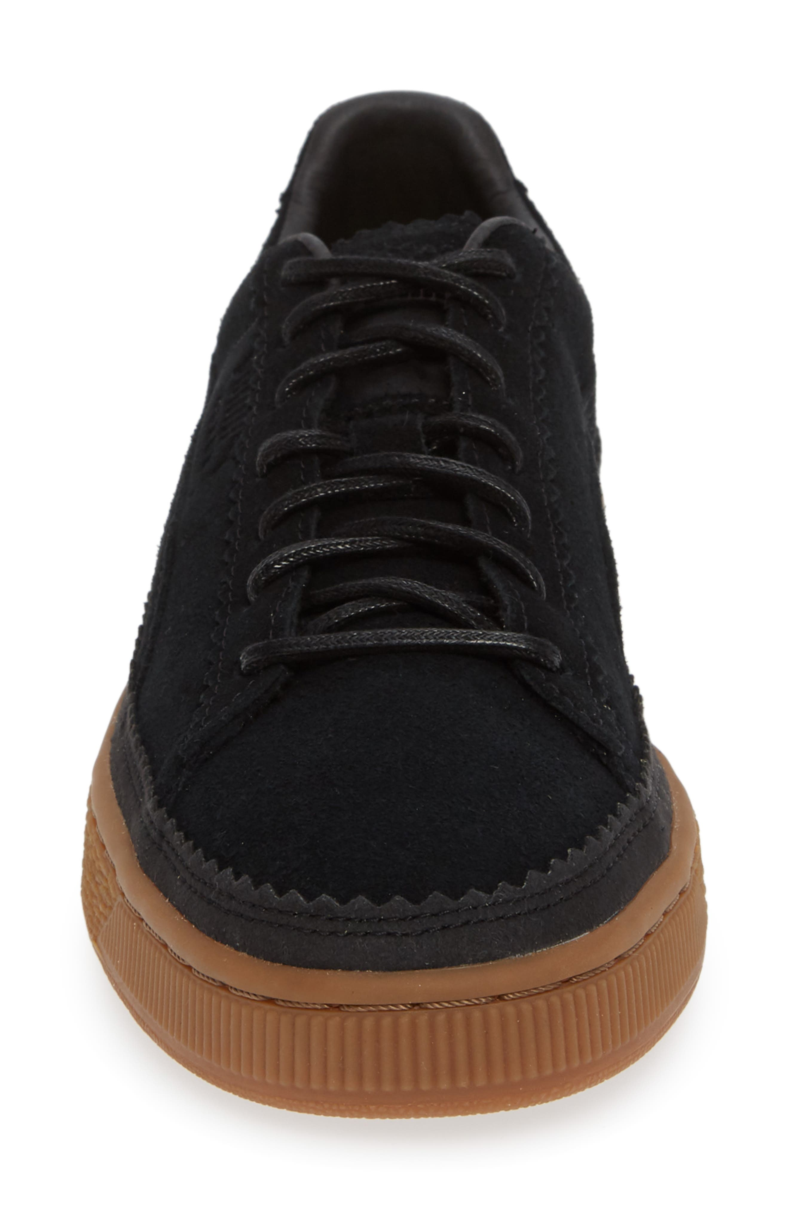 Suede Sneaker,                             Alternate thumbnail 4, color,                             BLACK/ BLACK