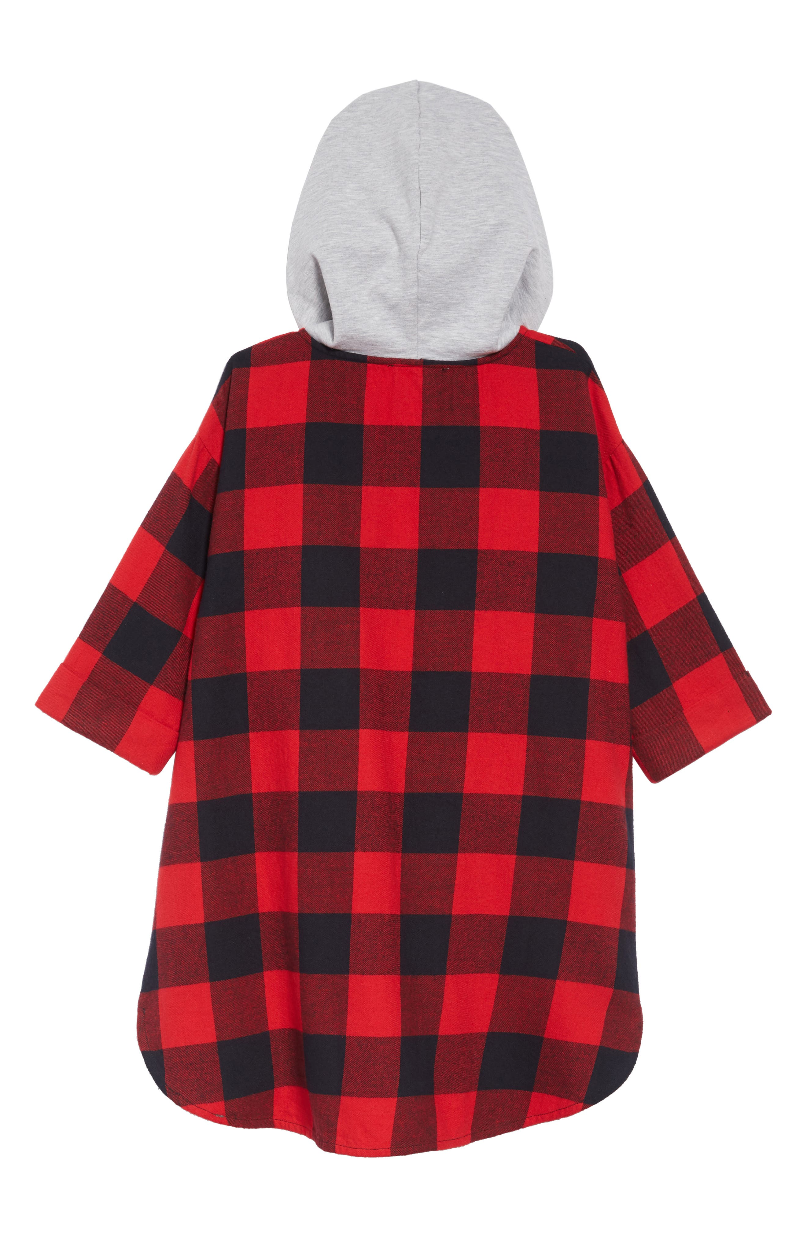 Hooded Flannel Dress,                             Alternate thumbnail 2, color,                             RED PEPPER BUFFALO CHECK