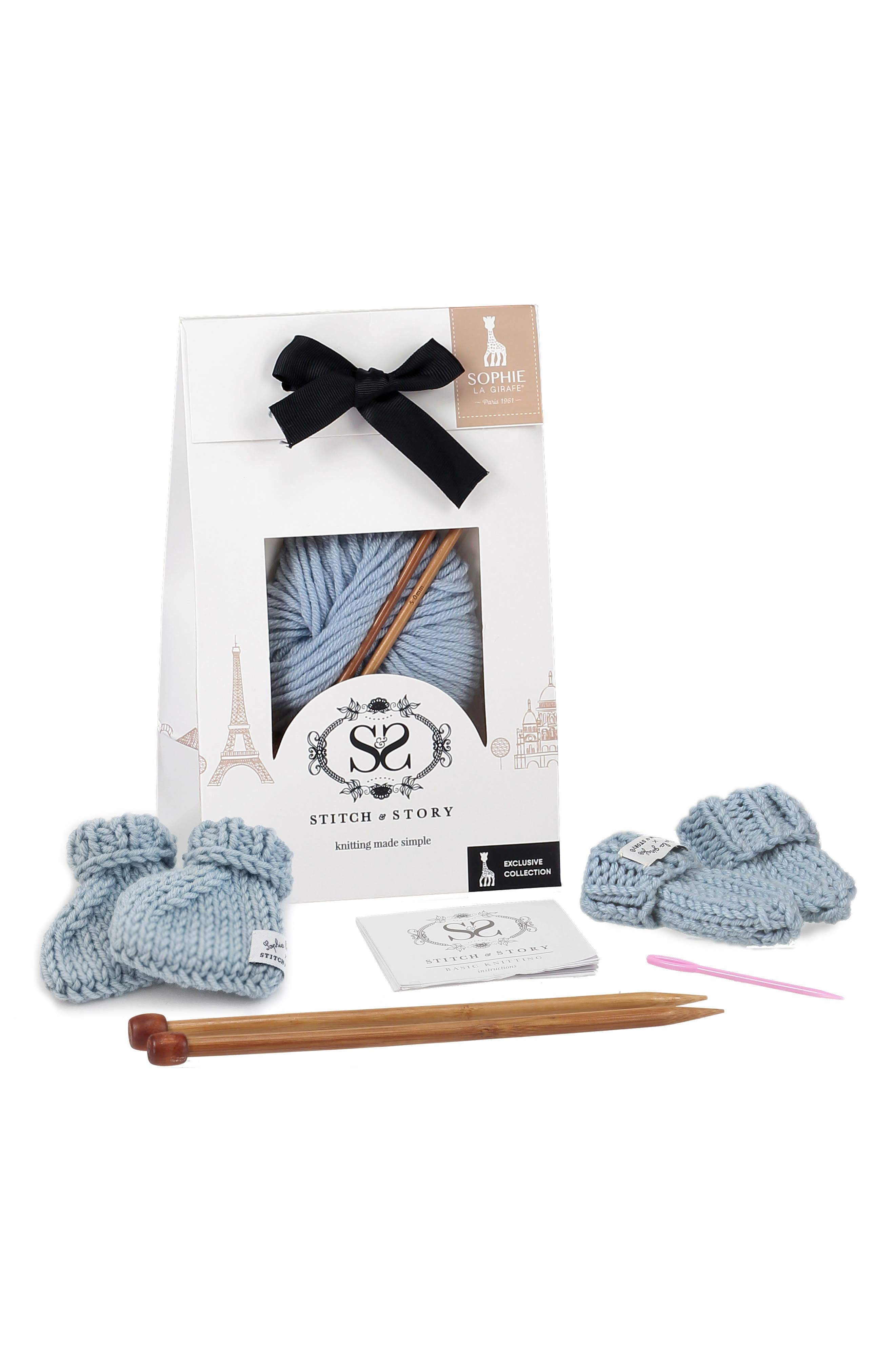 Infant Boys Sophie La Girafe Lily Mittens  Booties Knitting Kit Size One Size  Blue