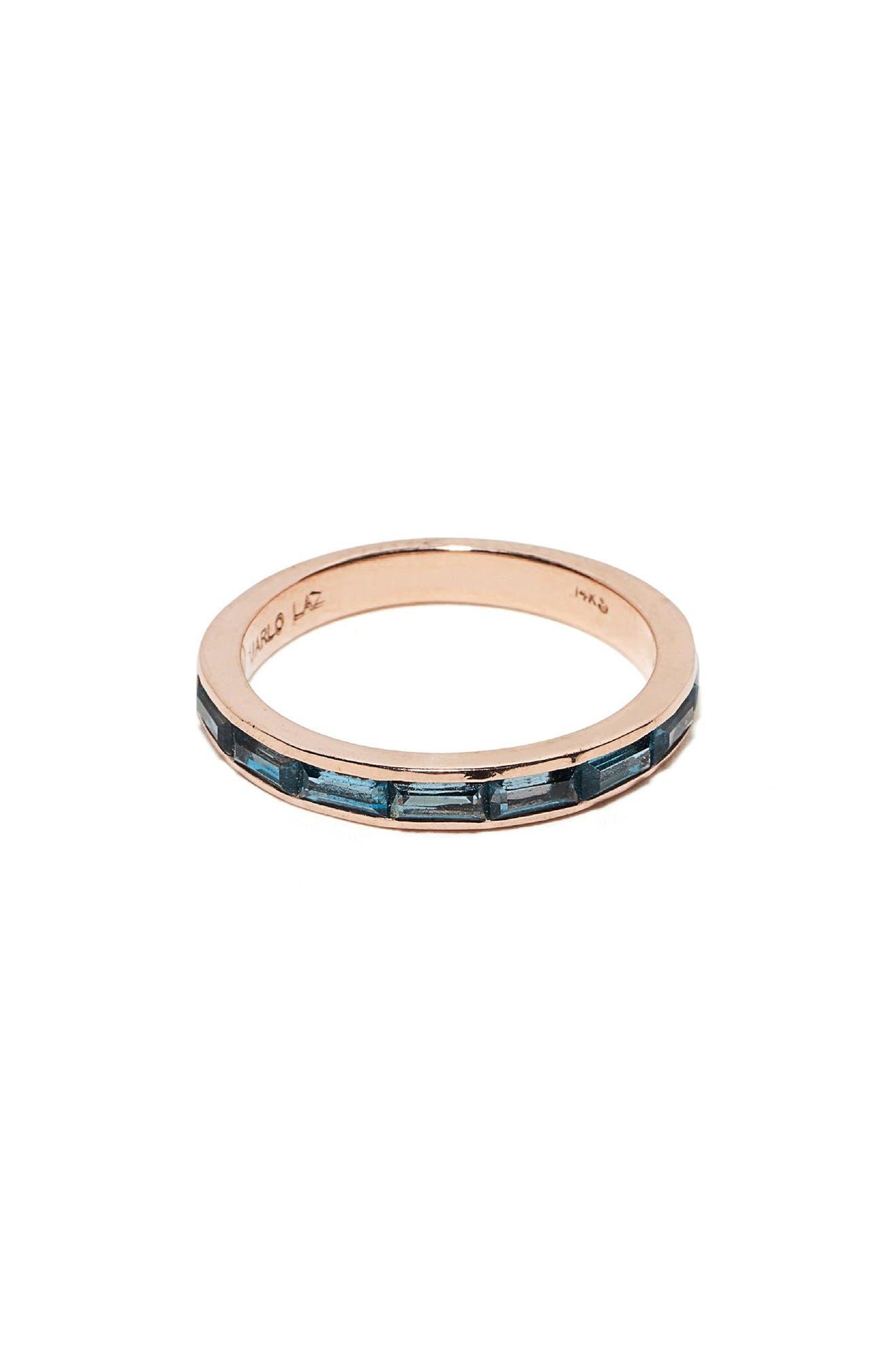 Blue Topaz Baguette Ring,                         Main,                         color, ROSE GOLD