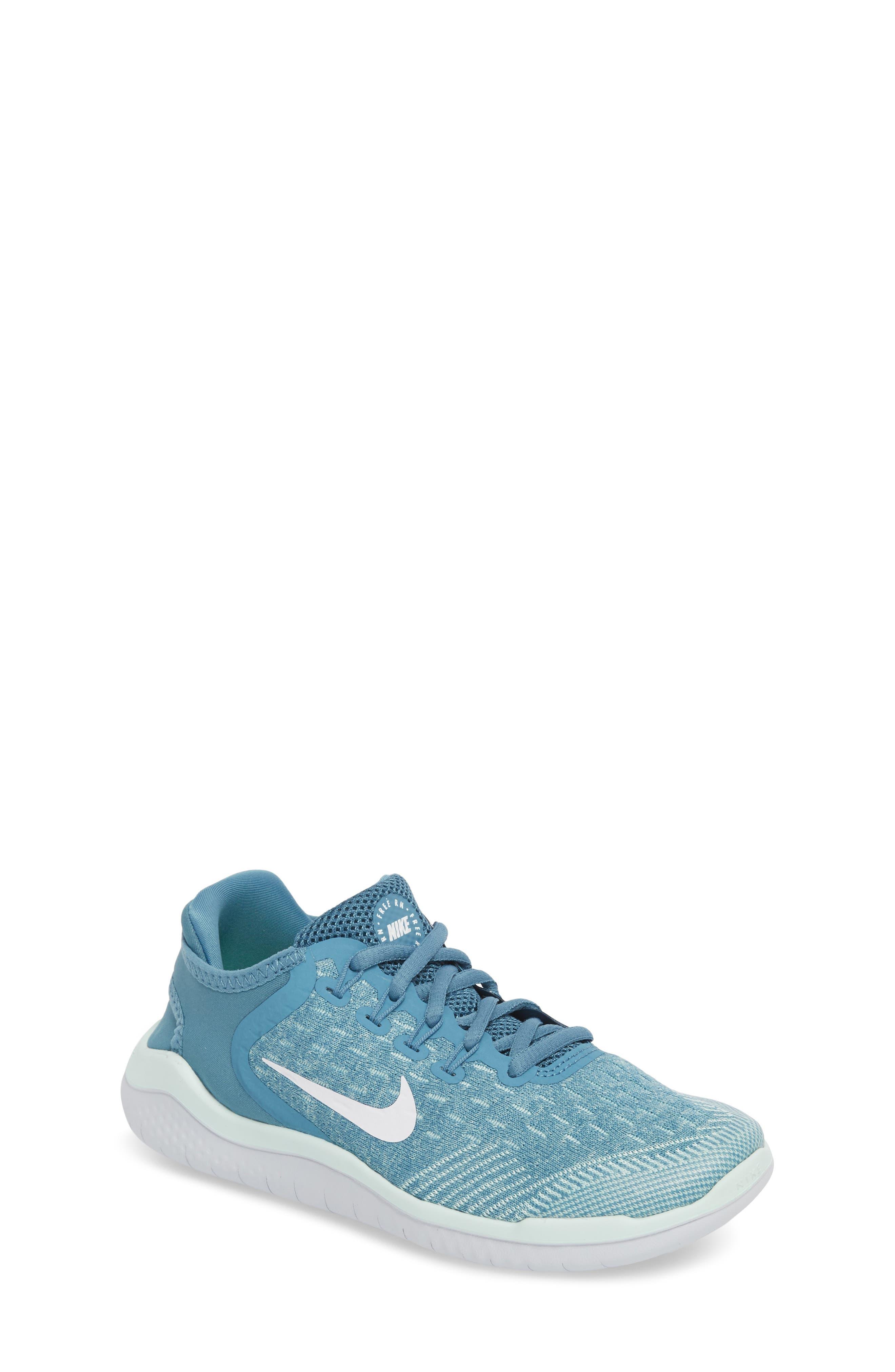 Free RN 2018 Running Shoe,                             Main thumbnail 1, color,                             AQUA/ WHITE/ PURE PLATINUM