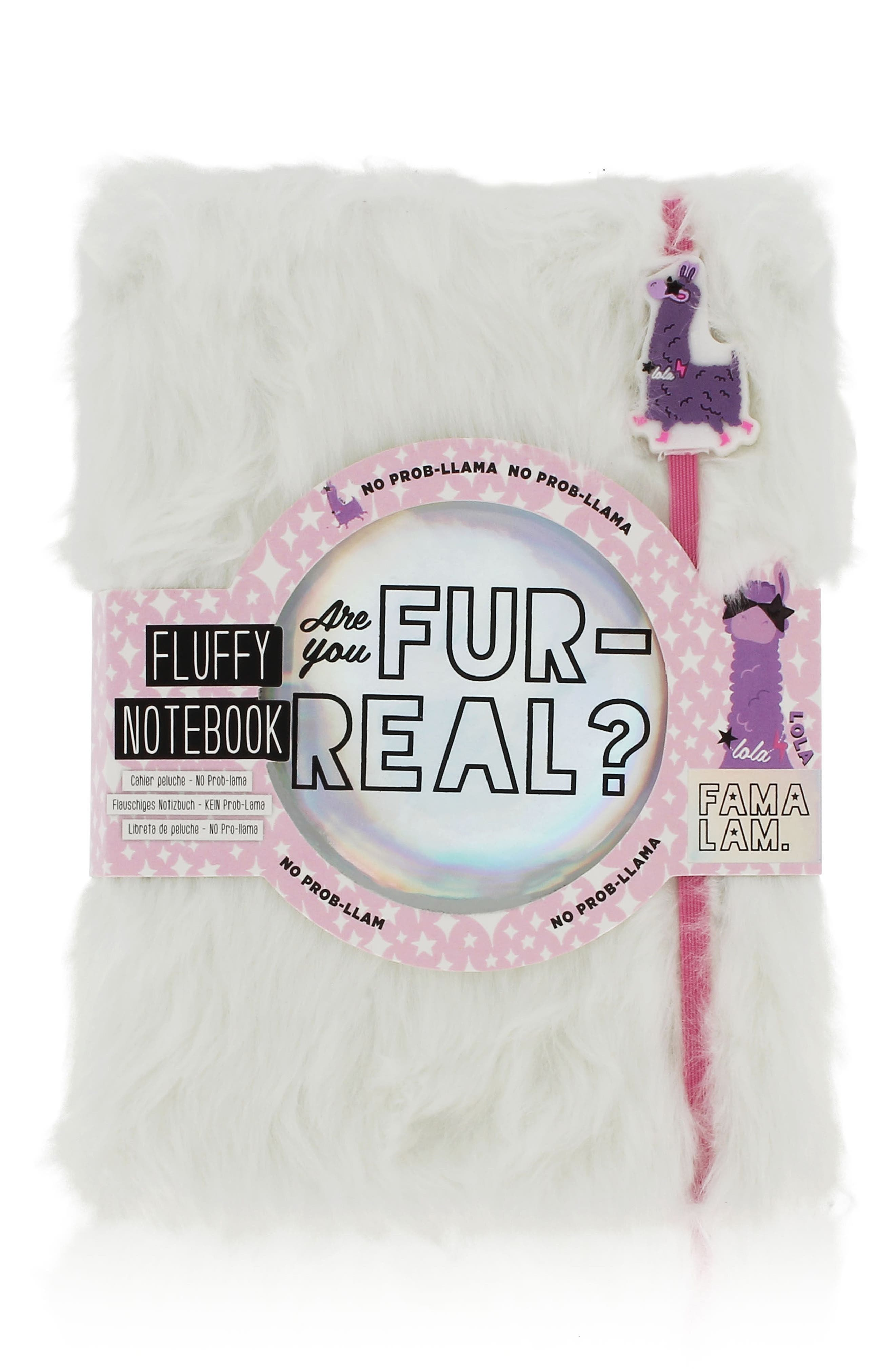 80-Page Famalam Furry Notebook,                             Main thumbnail 1, color,                             WHITE