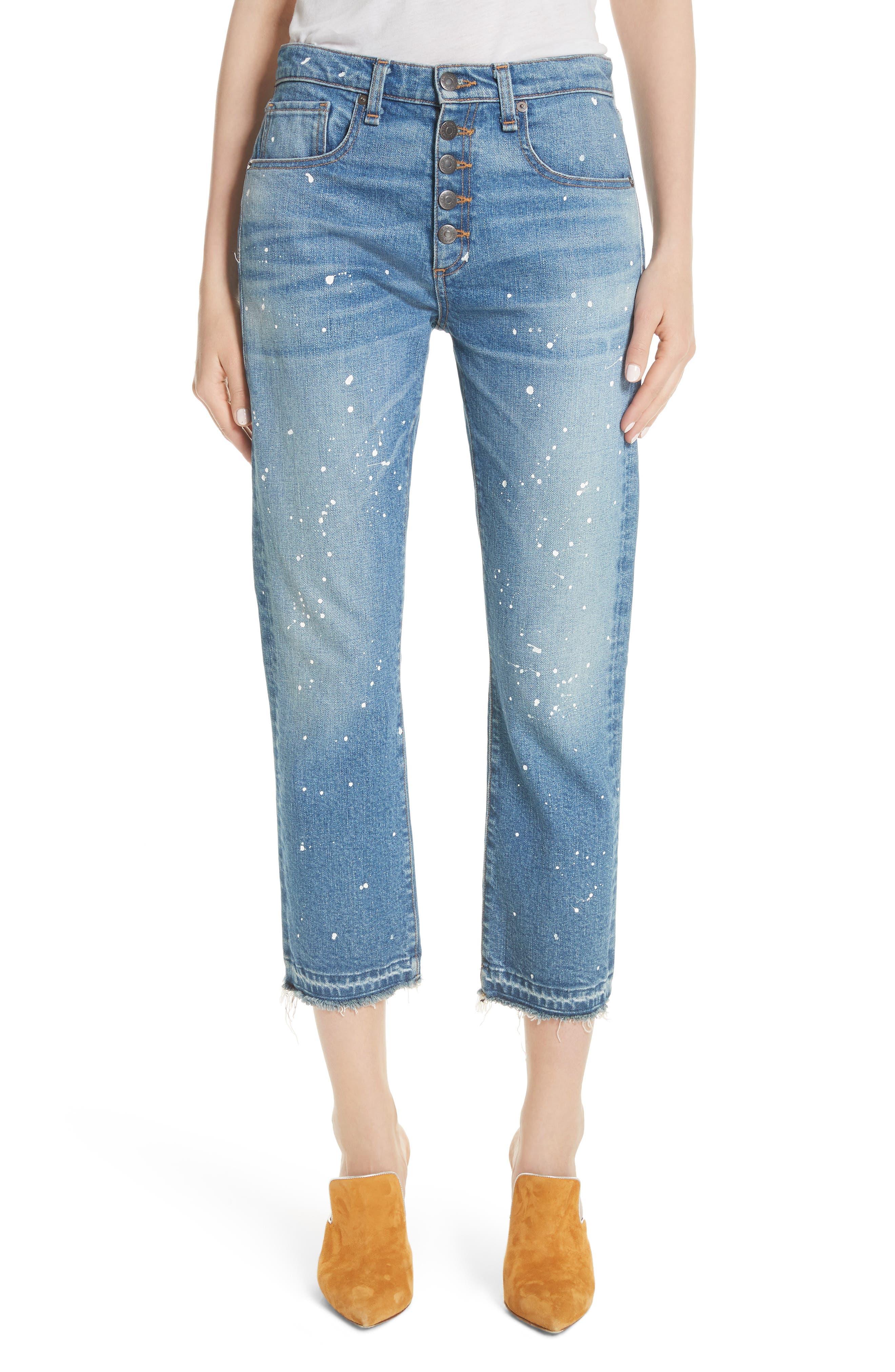 Ines Paint Splatter Crop Girlfriend Jeans,                             Main thumbnail 1, color,                             PIPELINE