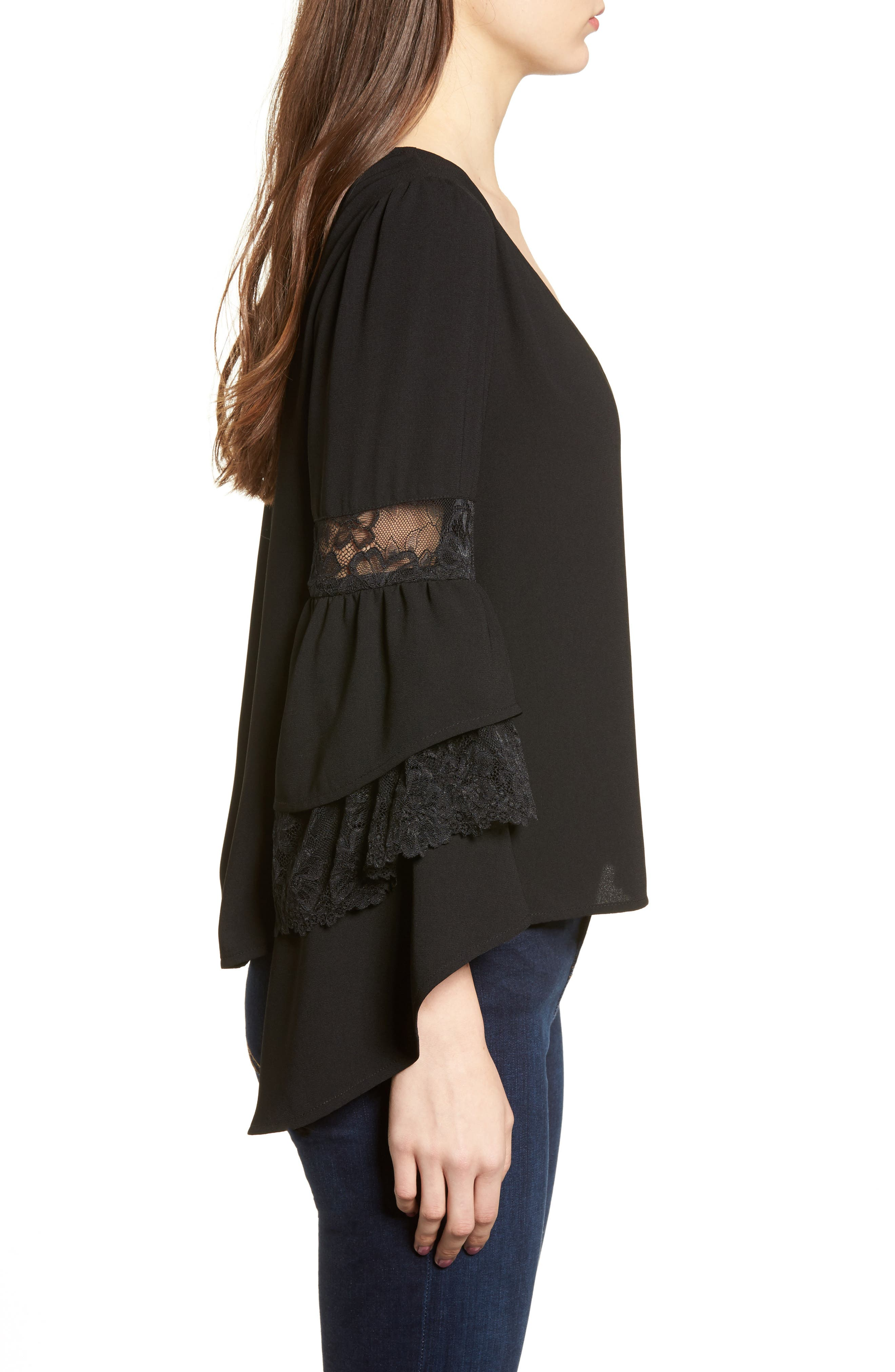Ruffle Bell Sleeve Top,                             Alternate thumbnail 5, color,