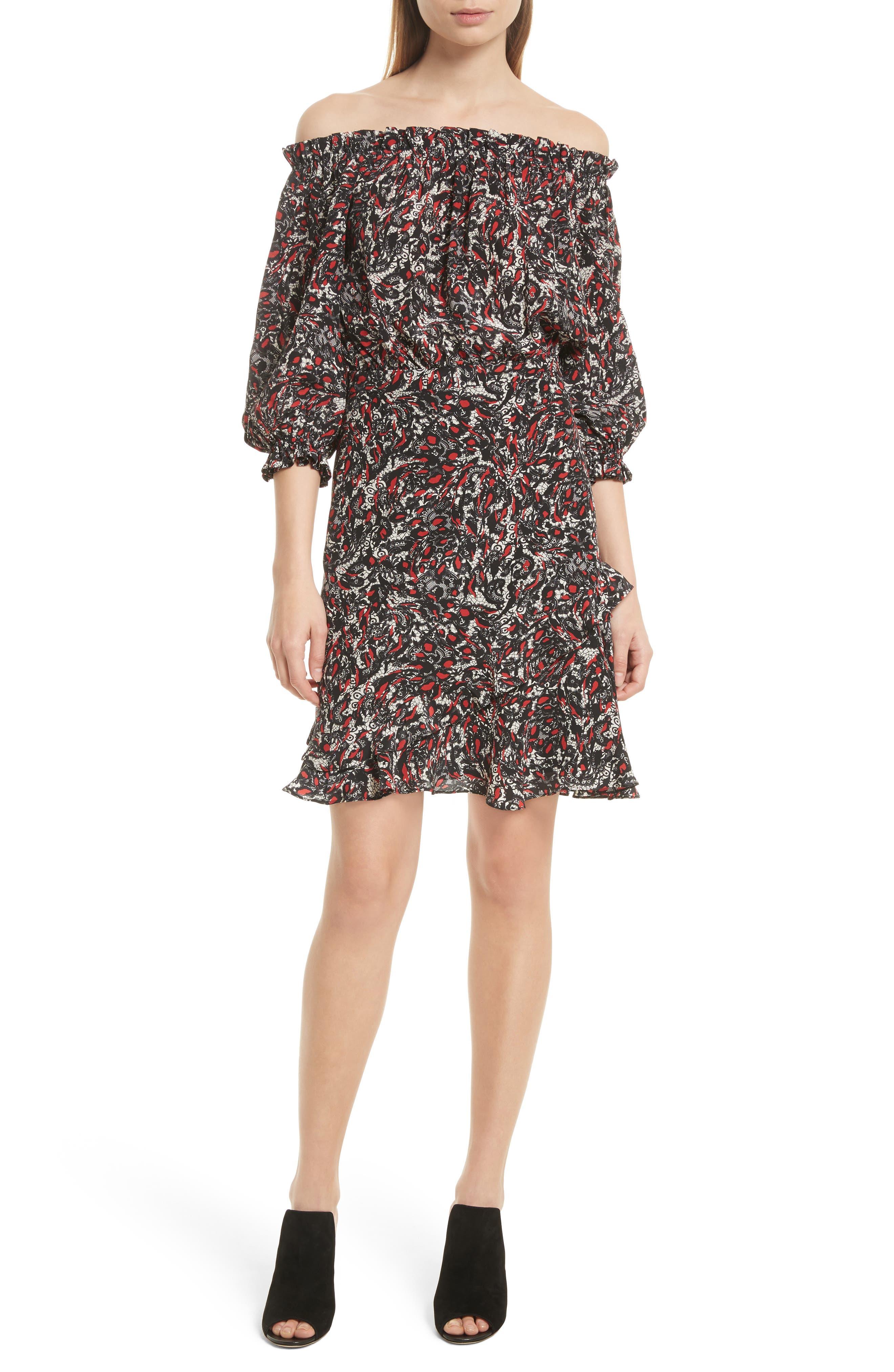 Grace Print Off the Shoulder Silk Dress,                         Main,                         color,