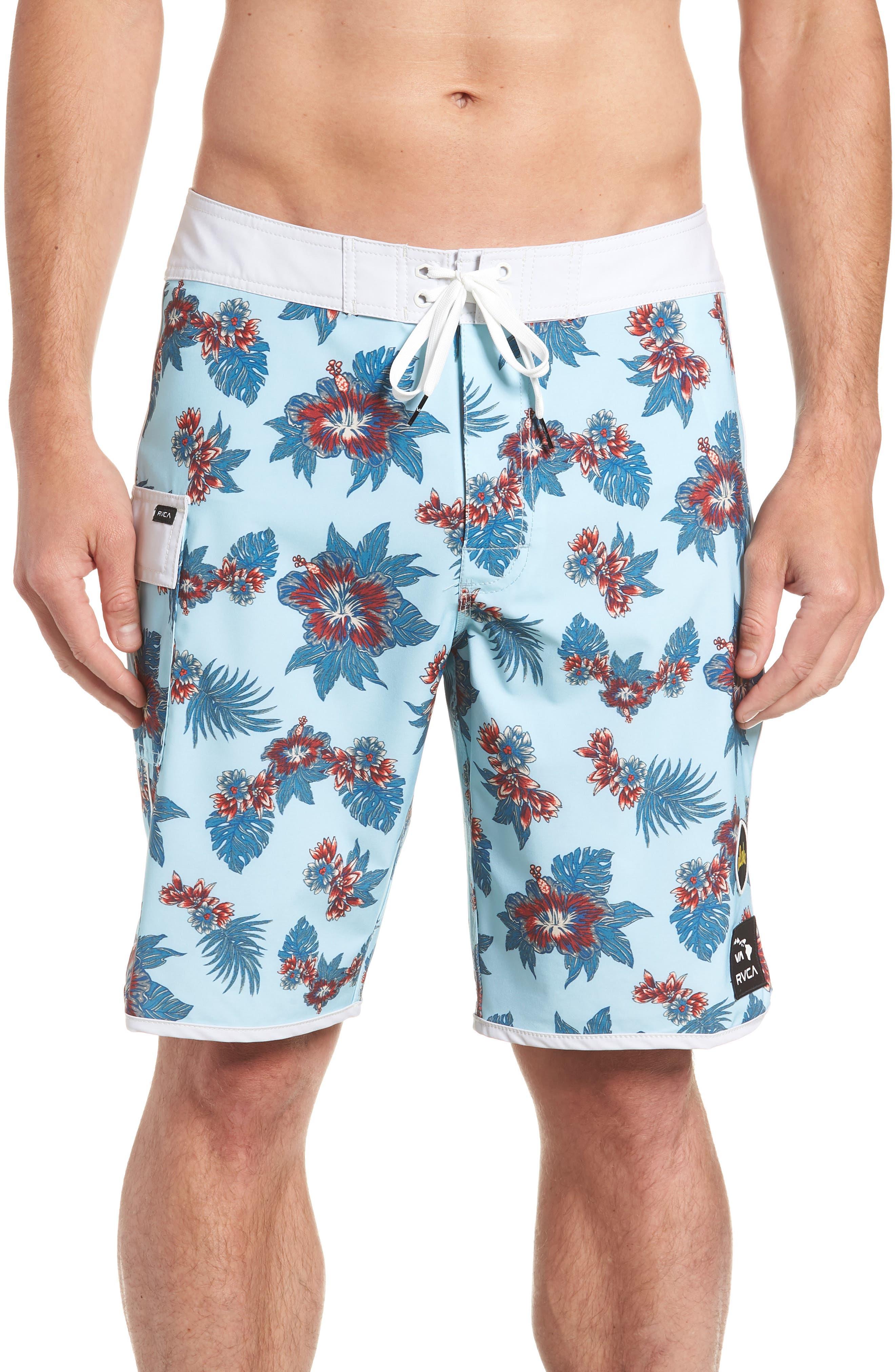 Jeff McMillan Floral Swim Trunks,                         Main,                         color, BLUE FLORAL