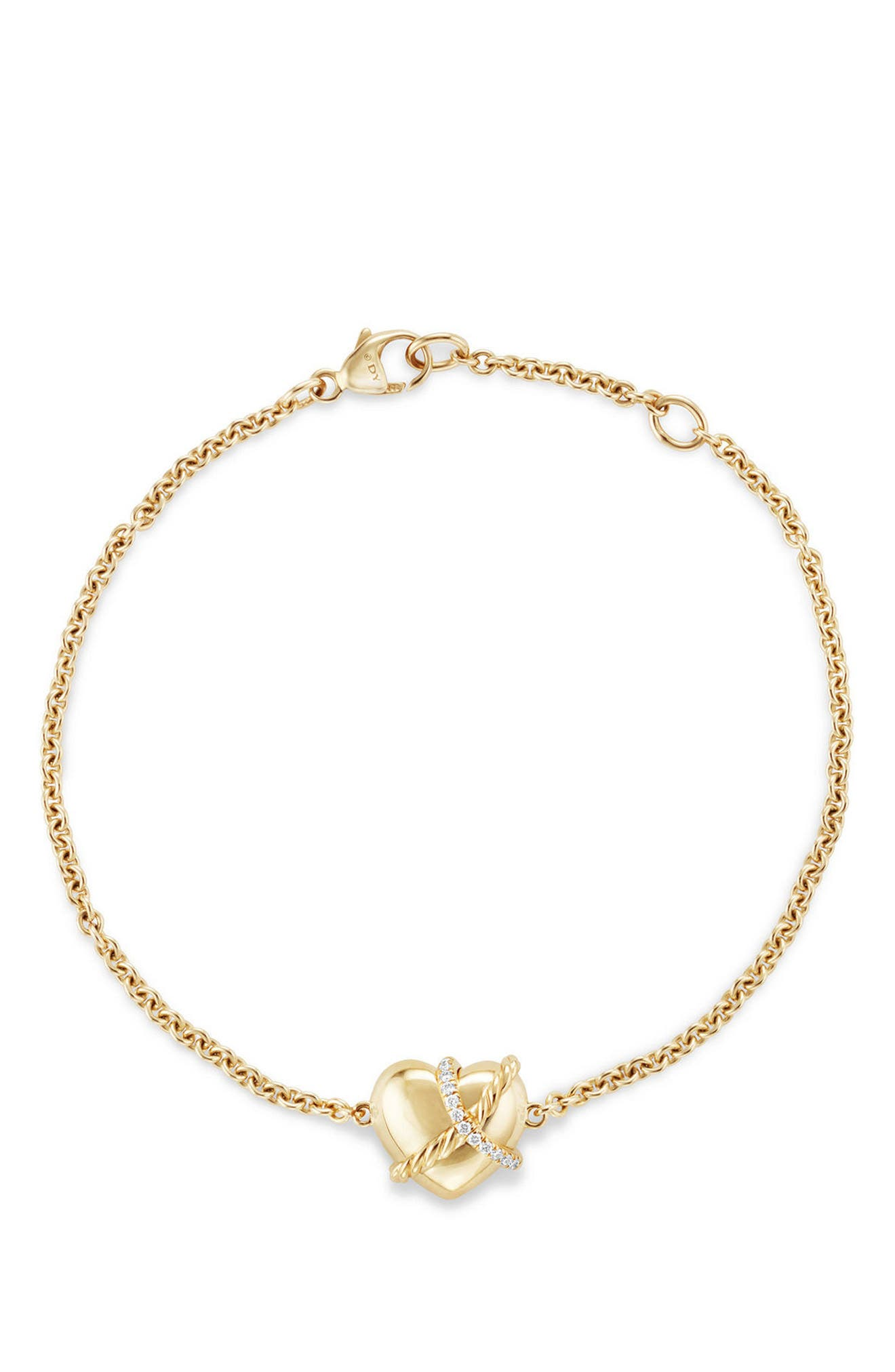 Heart Bracelet in 18K Gold with Diamonds,                             Alternate thumbnail 3, color,                             YELLOW GOLD/ DIAMOND