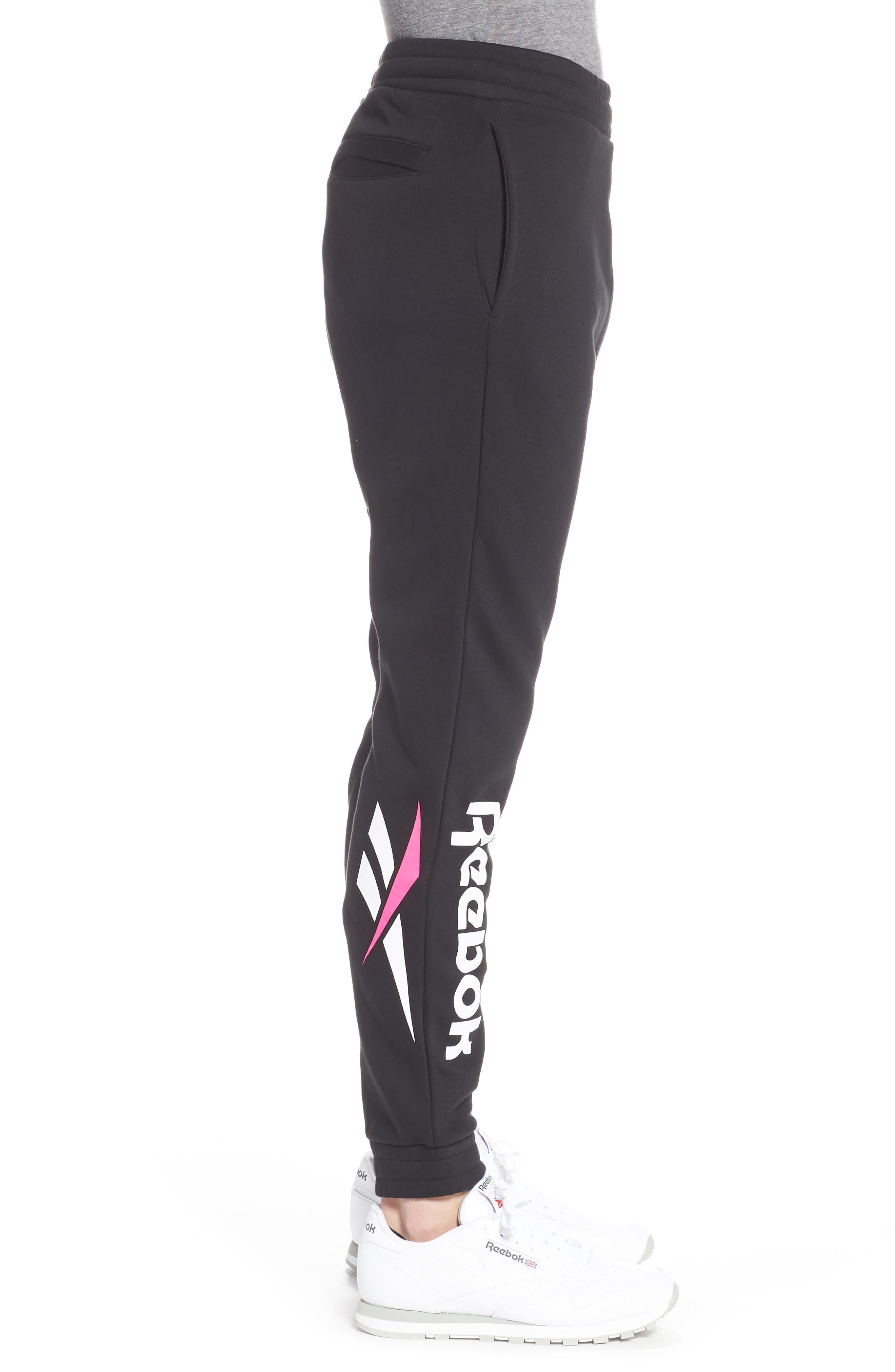 REEBOK,                             Vector Logo Sweatpants,                             Alternate thumbnail 3, color,                             BLACK