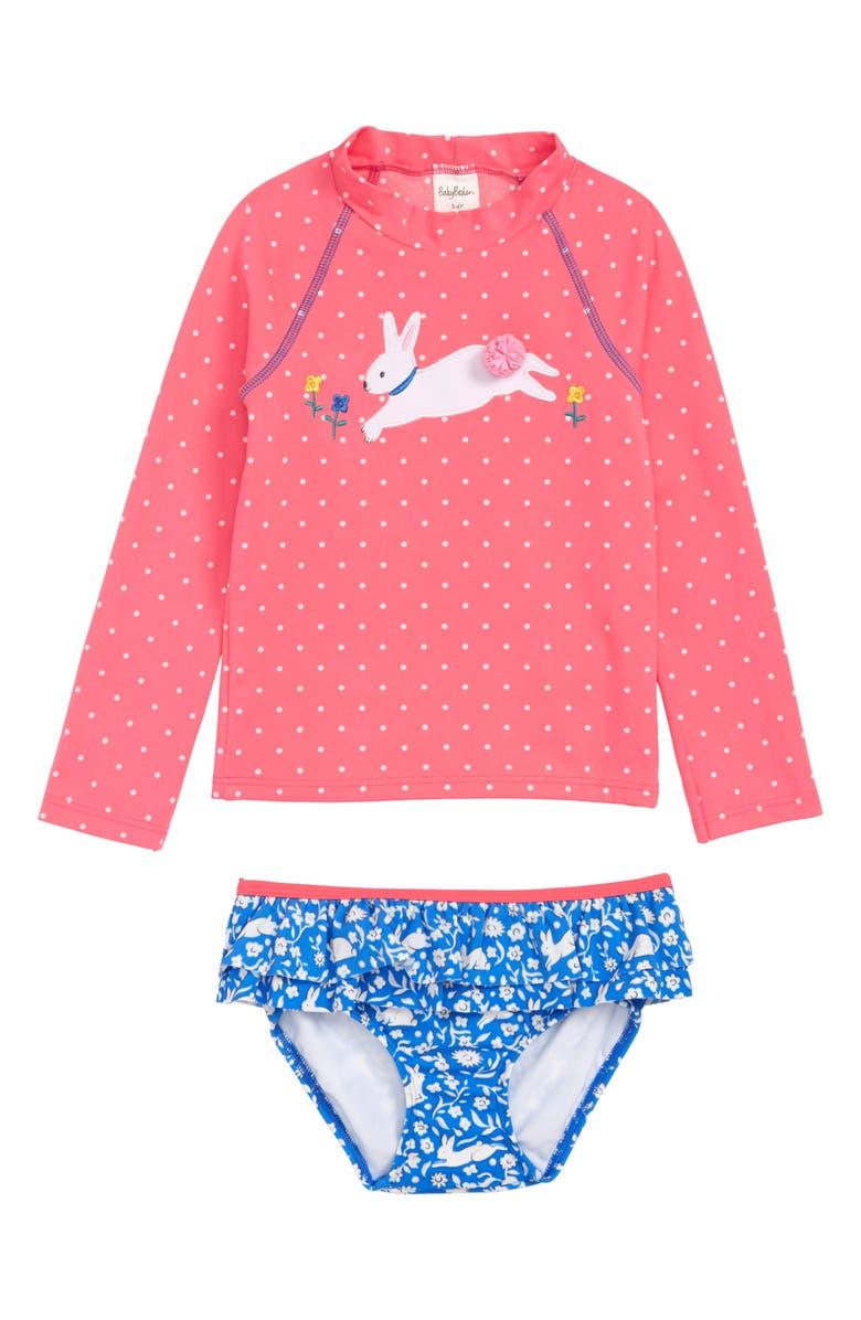 05923b4f MINI BODEN Two-Piece Rashguard Swimsuit, Main, color, PNK BRUSH PINK SPOT