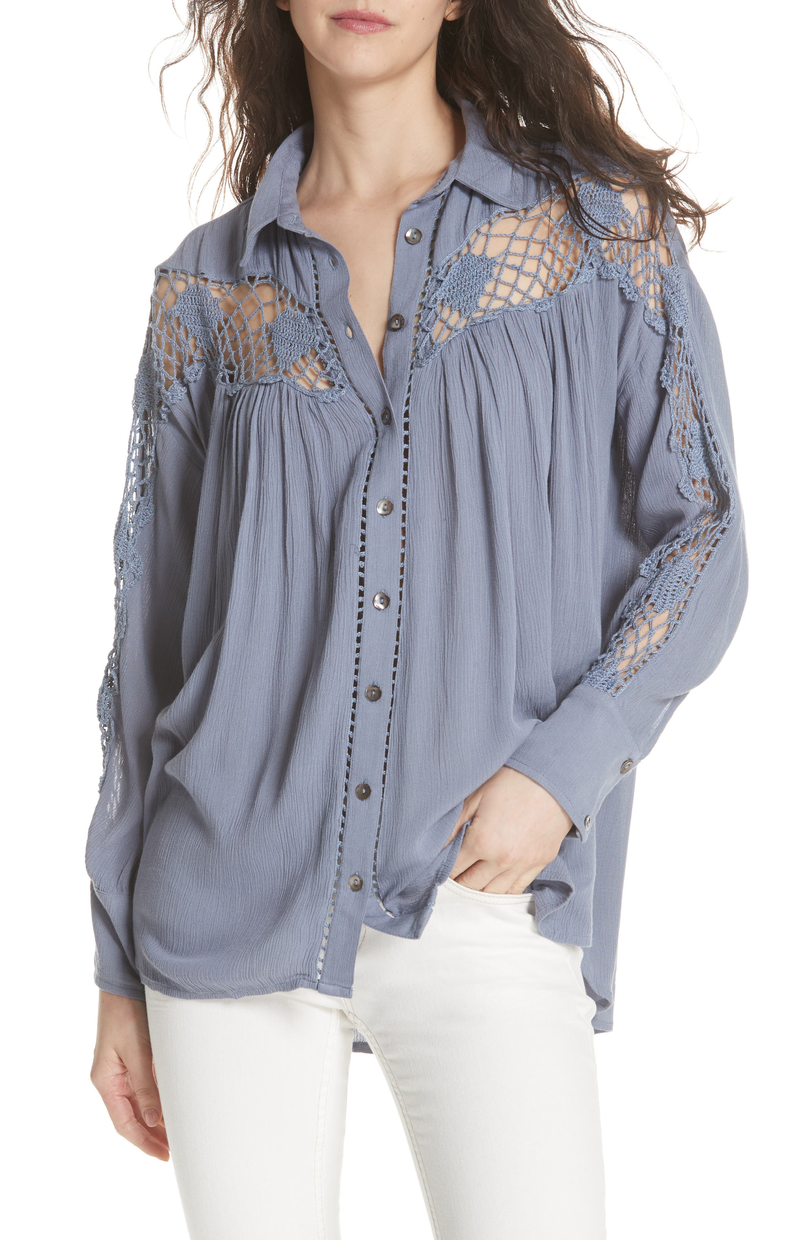 Katie Bird Crochet Inset Shirt,                             Main thumbnail 3, color,