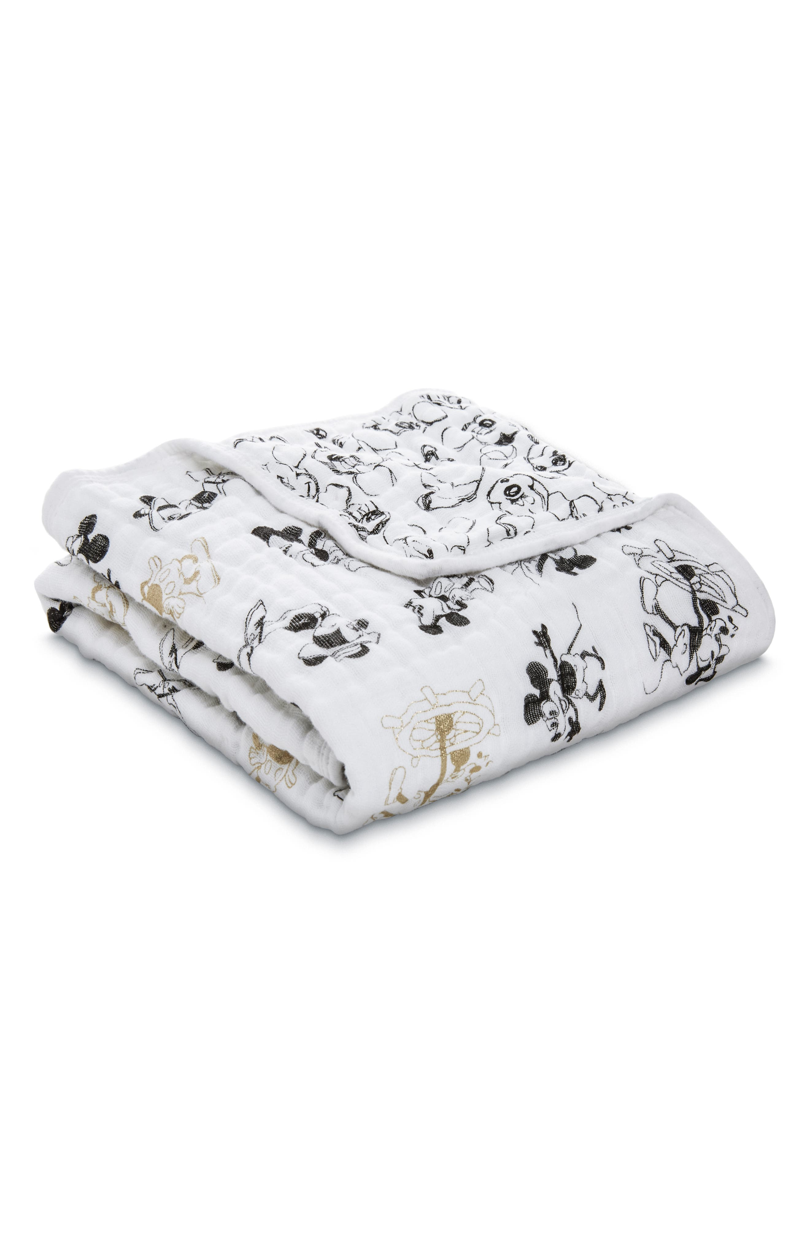 Disney<sup>®</sup> Mickey's 90th Muslin Stroller Blanket,                             Main thumbnail 1, color,                             BLACK AND GOLD