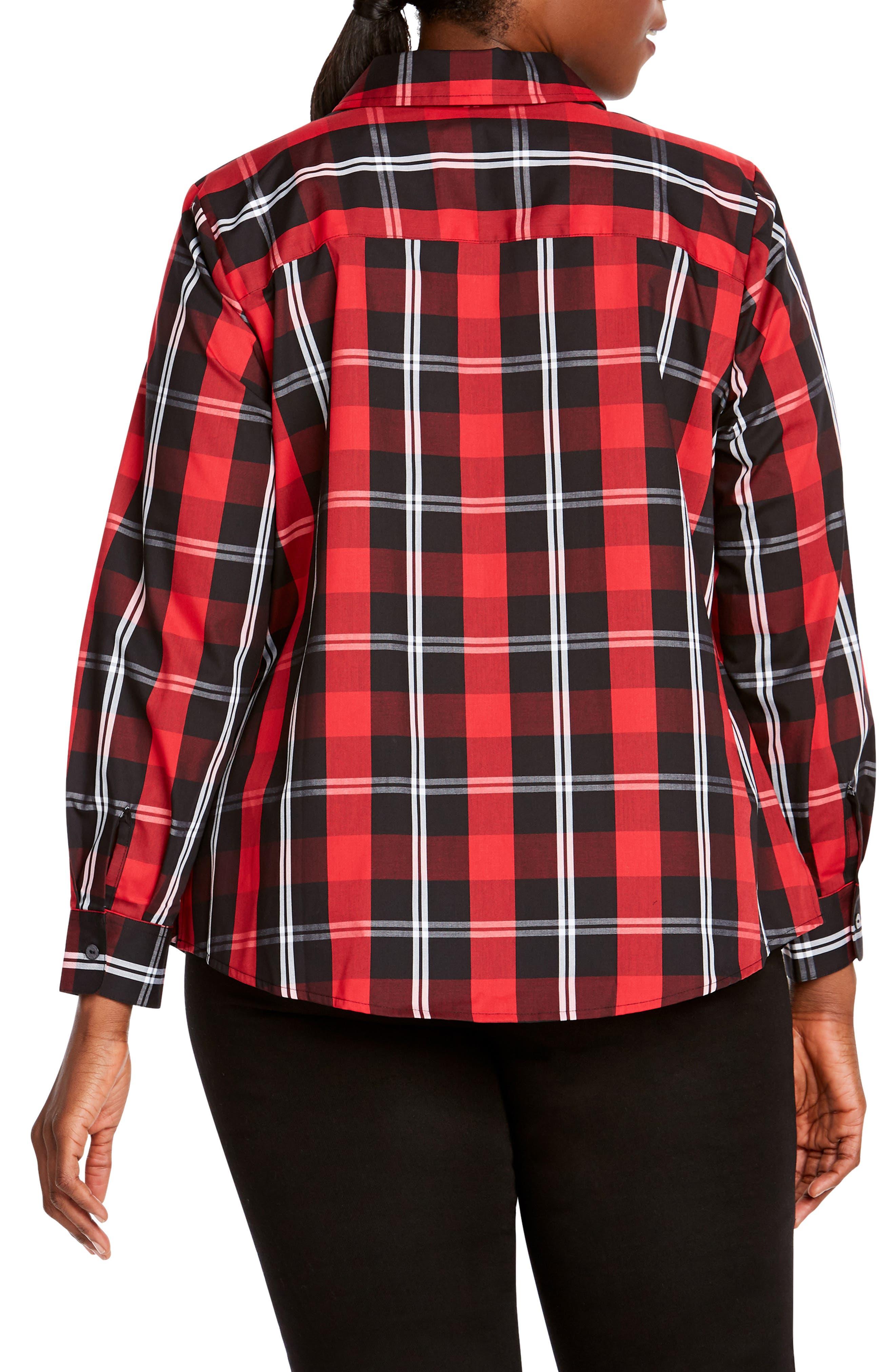 Tina Mackenzie Tartan Plaid Shirt,                             Alternate thumbnail 2, color,                             BLACK/ RED