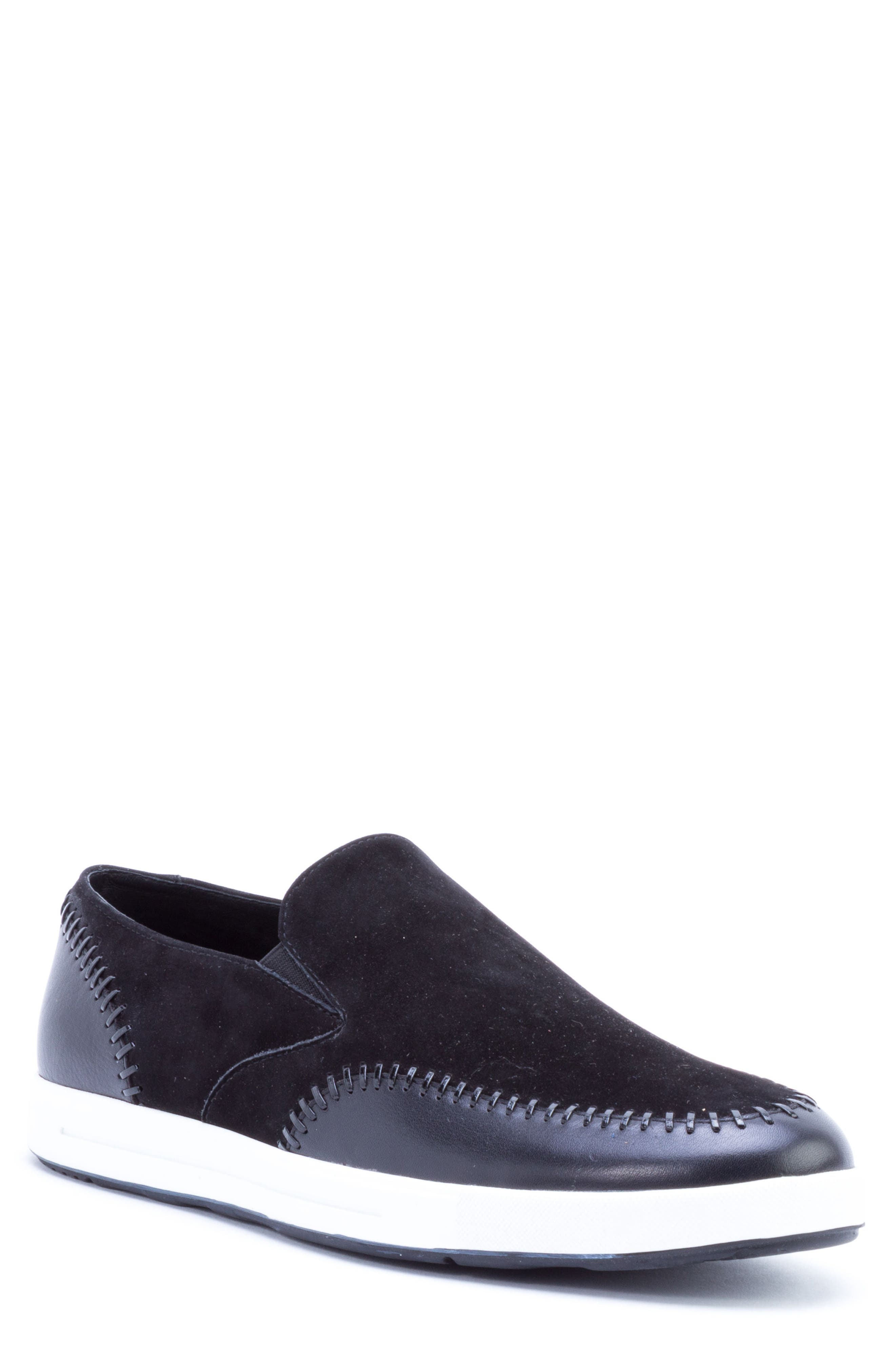 Caravaggio Whipstitched Slip-On Sneaker,                             Main thumbnail 1, color,                             BLACK SUEDE/ LEATHER