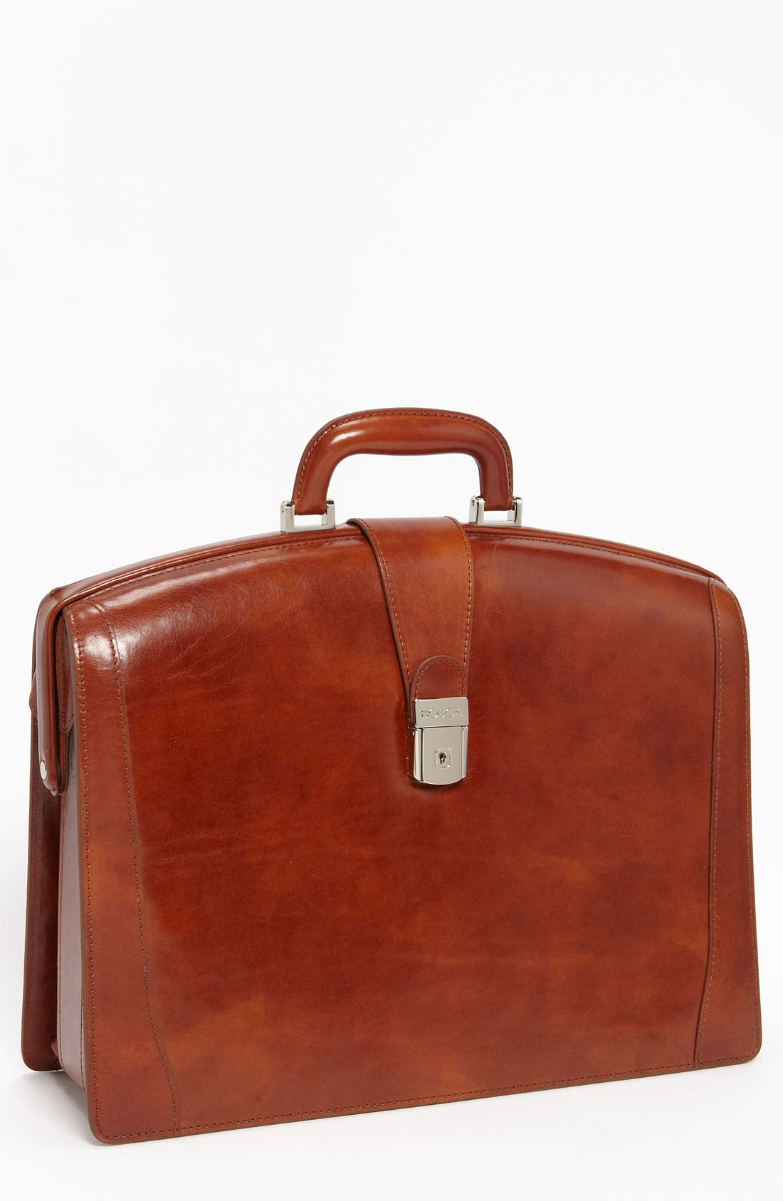 Triple Compartment Leather Briefcase, Main, color, AMBER
