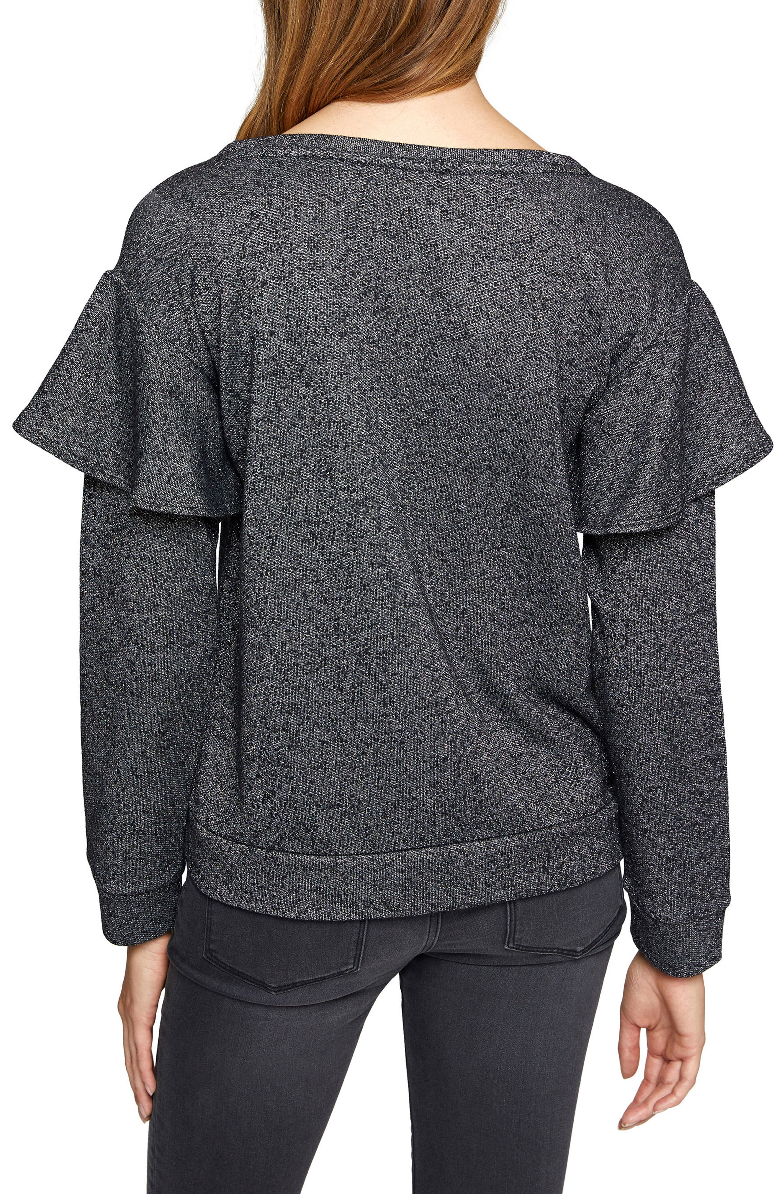 Dominique Metallic Sweatshirt,                             Alternate thumbnail 3, color,