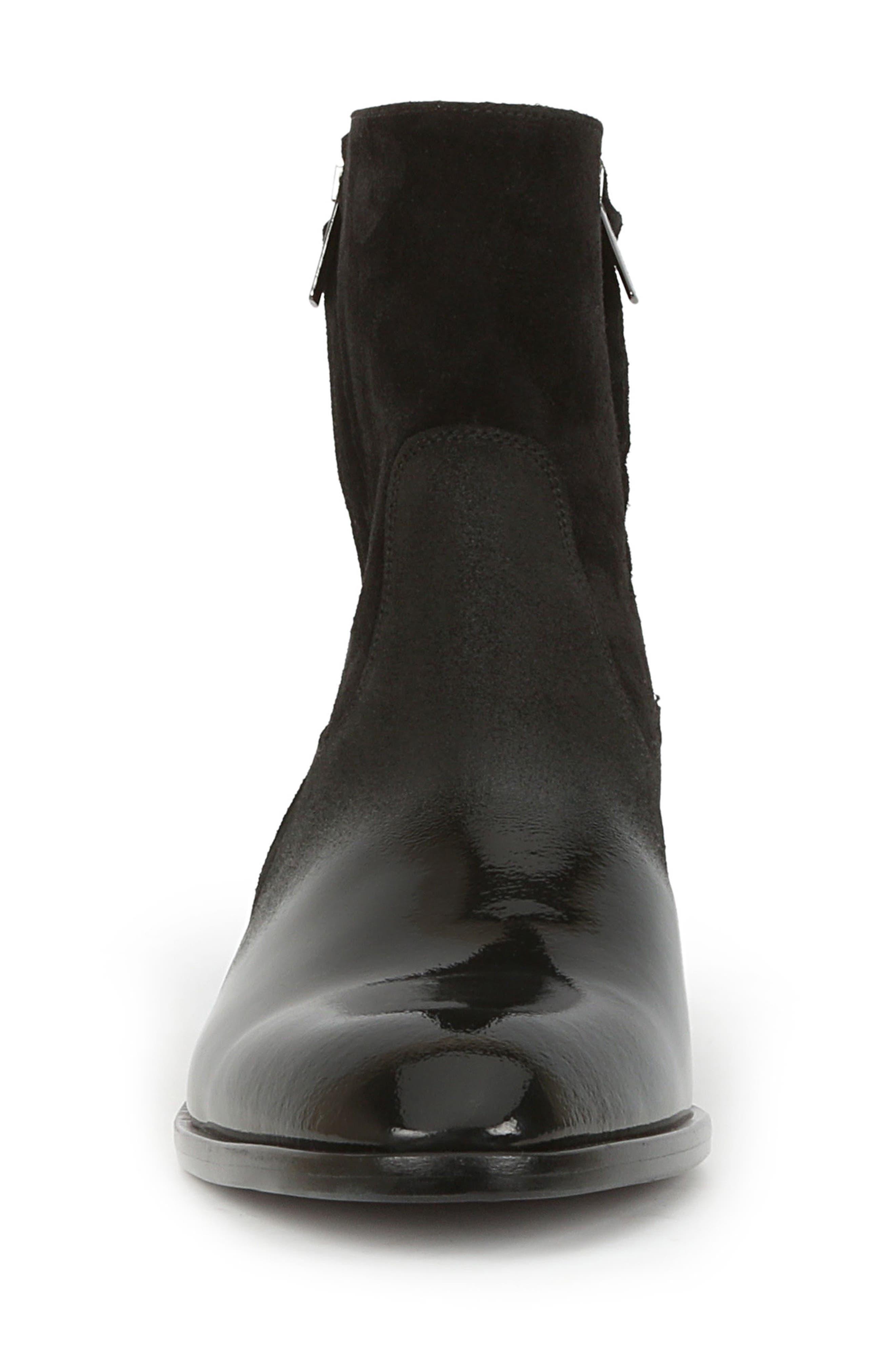 BRUNO MAGLI,                             Risolo Zip Boot,                             Alternate thumbnail 4, color,                             BLACK LEATHER