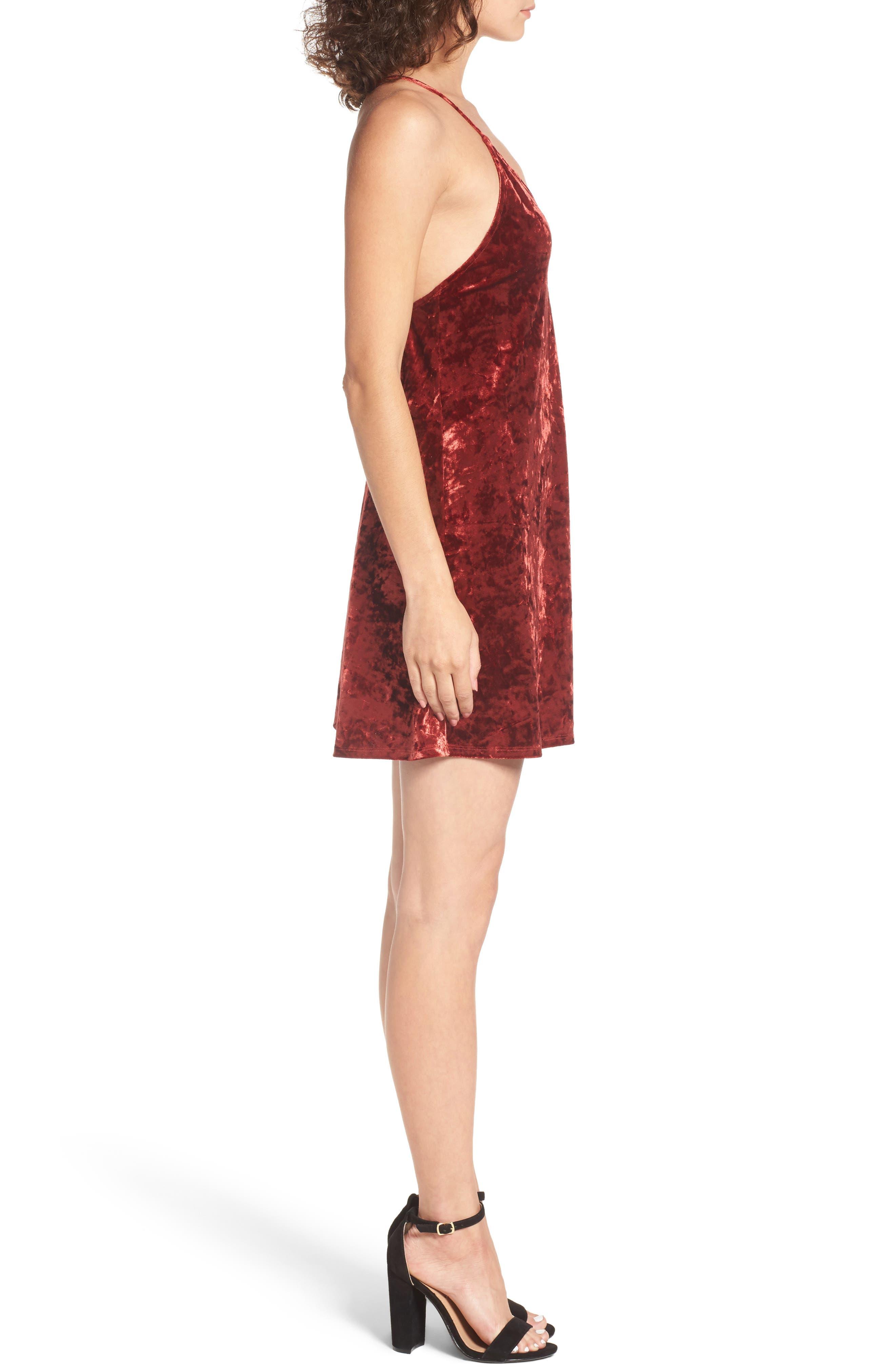 Raymore Crushed Velvet Minidress,                             Alternate thumbnail 3, color,
