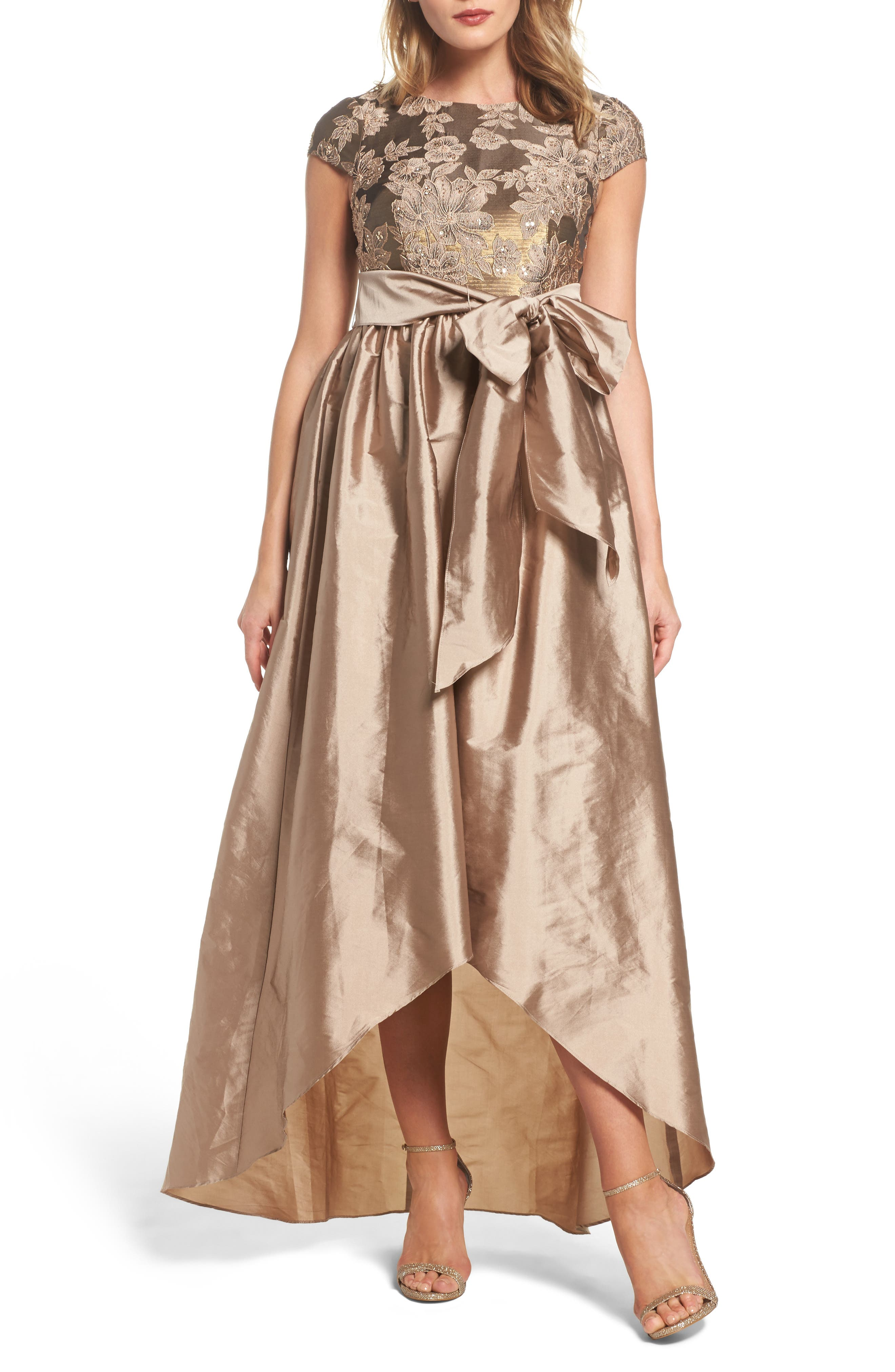 Embellished Taffetta High/Low Gown,                             Alternate thumbnail 5, color,