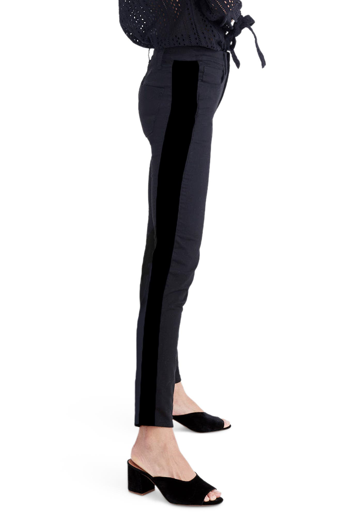 9-Inch High Waist Tuxedo Stripe Skinny Jeans,                             Alternate thumbnail 3, color,                             009