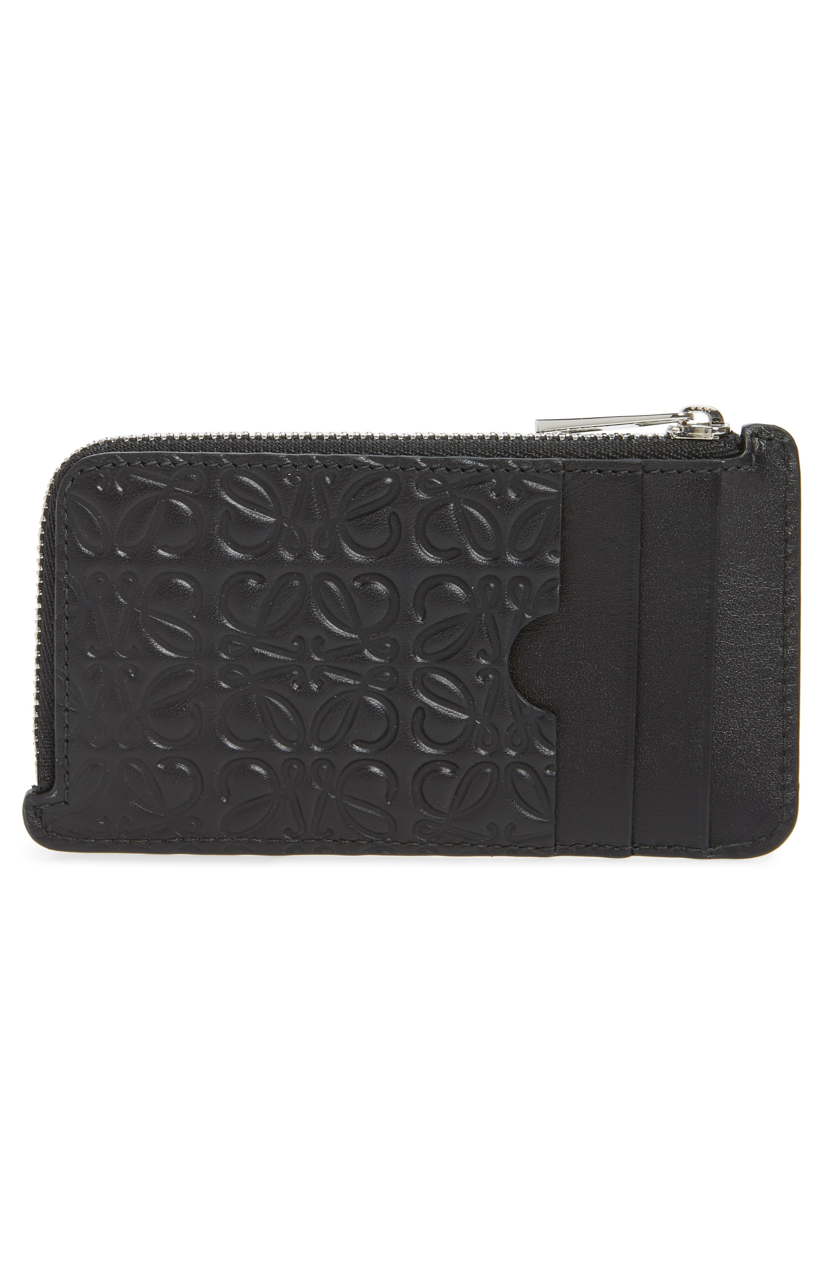 Coin & Card Leather Zip Pouch,                             Alternate thumbnail 2, color,                             BLACK