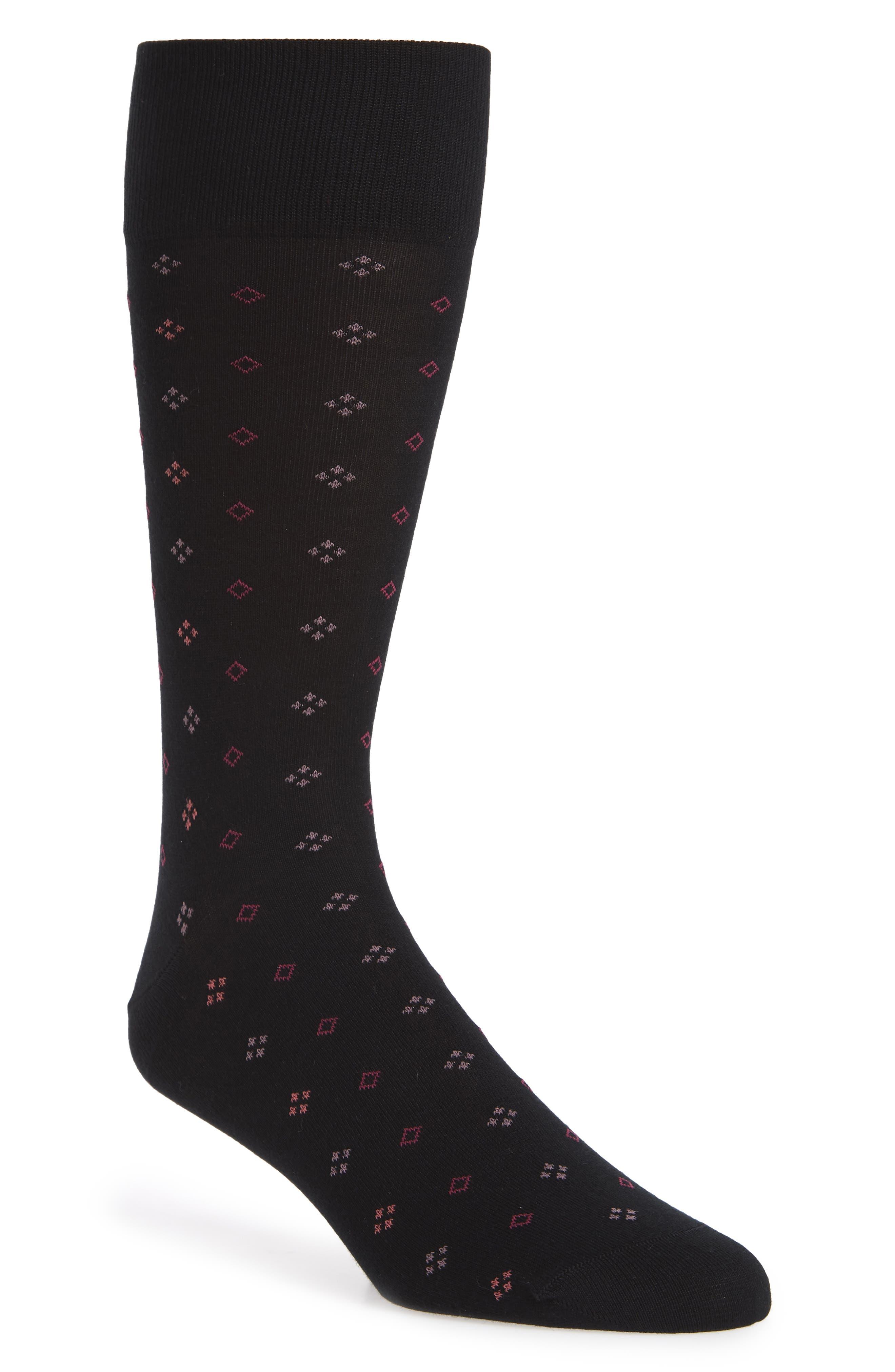 Geometric Socks,                             Main thumbnail 1, color,                             BLACK/ PINK
