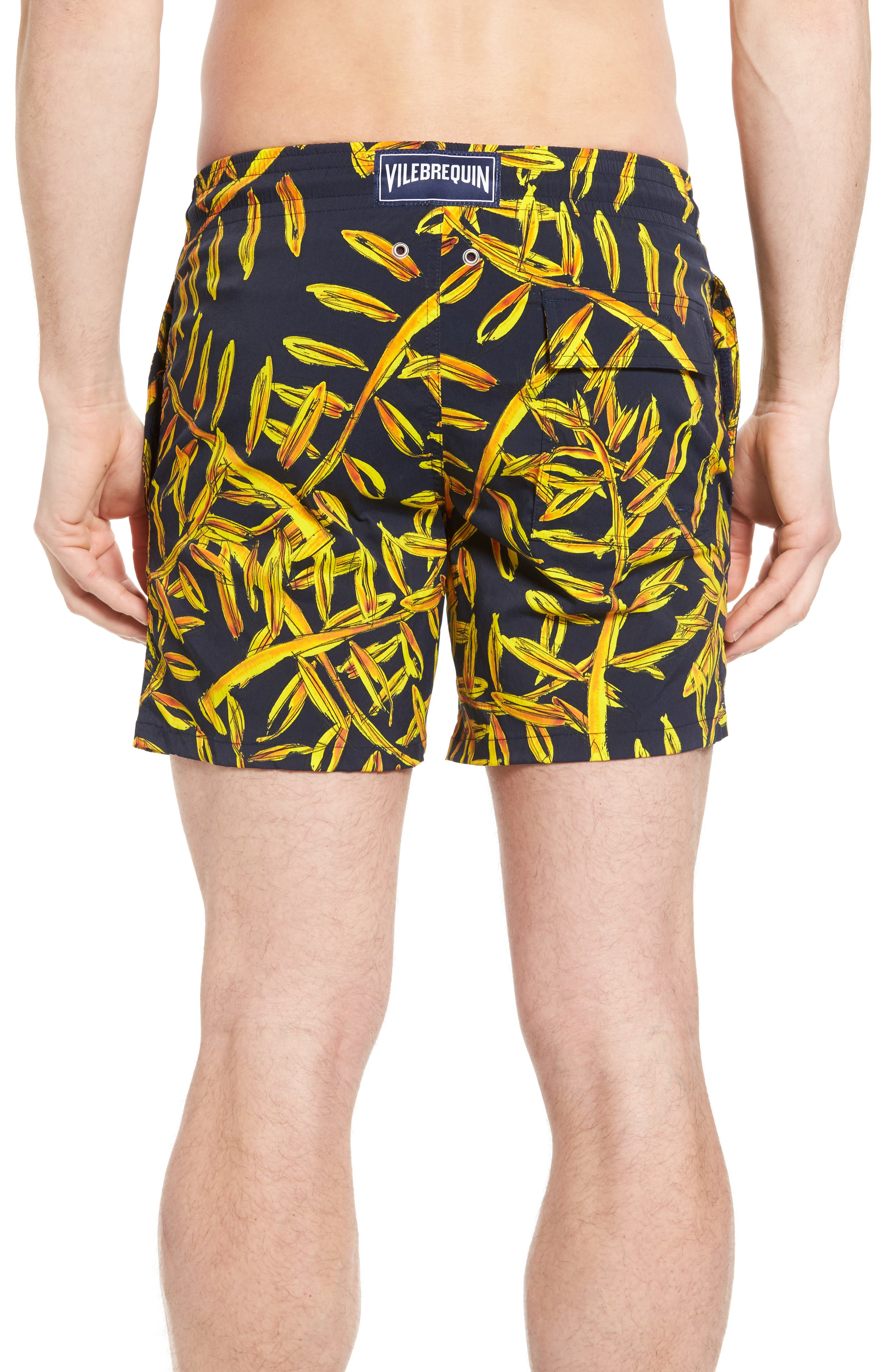 Superflex Gold Palms Print Swim Trunks,                             Alternate thumbnail 2, color,                             NAVY BLUE