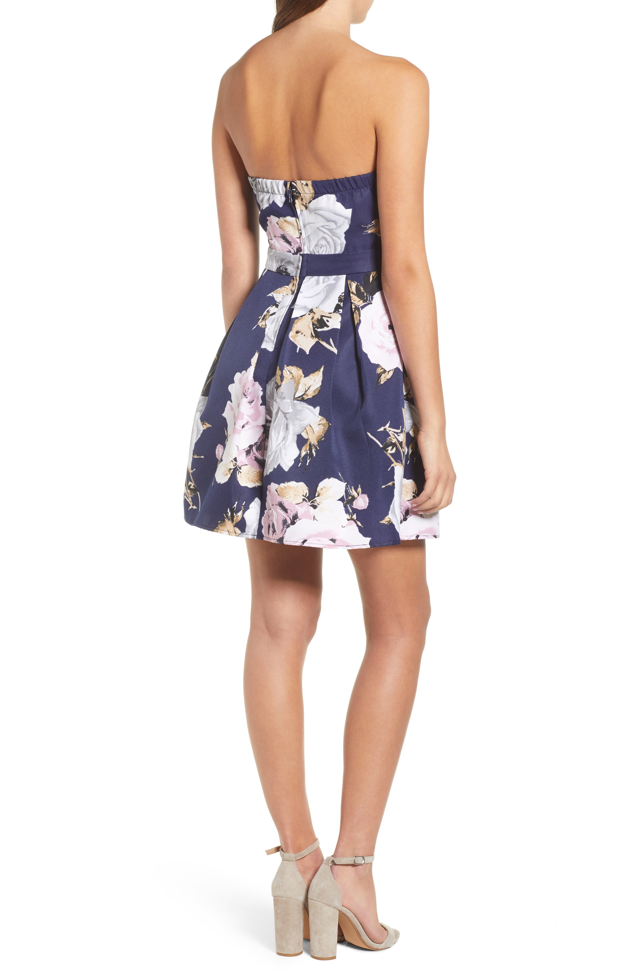 Floral Strapless Dress,                             Alternate thumbnail 2, color,                             NAVY/ GREEN