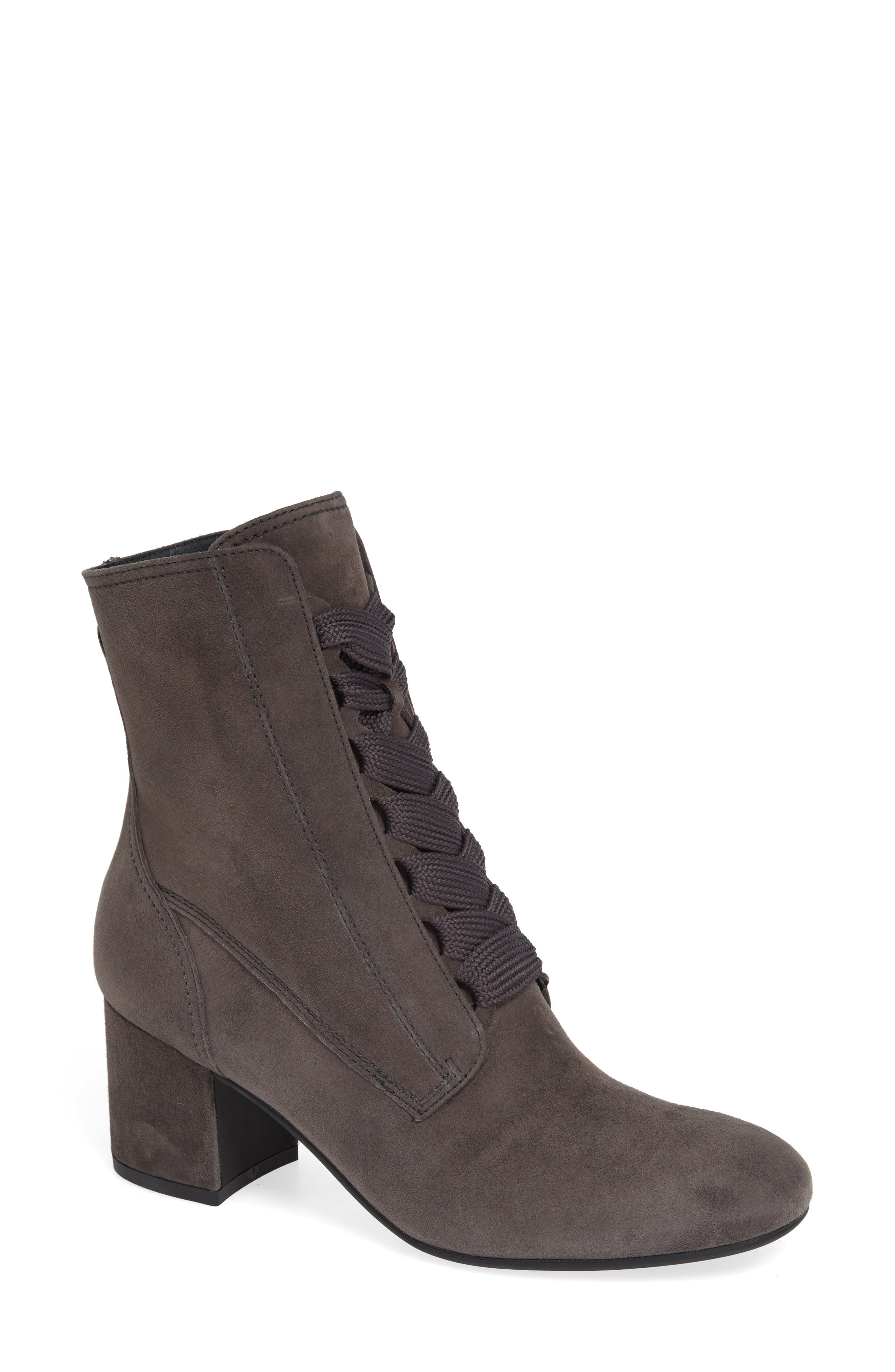 PAUL GREEN Tracy Lace-Up Bootie in Iron Suede