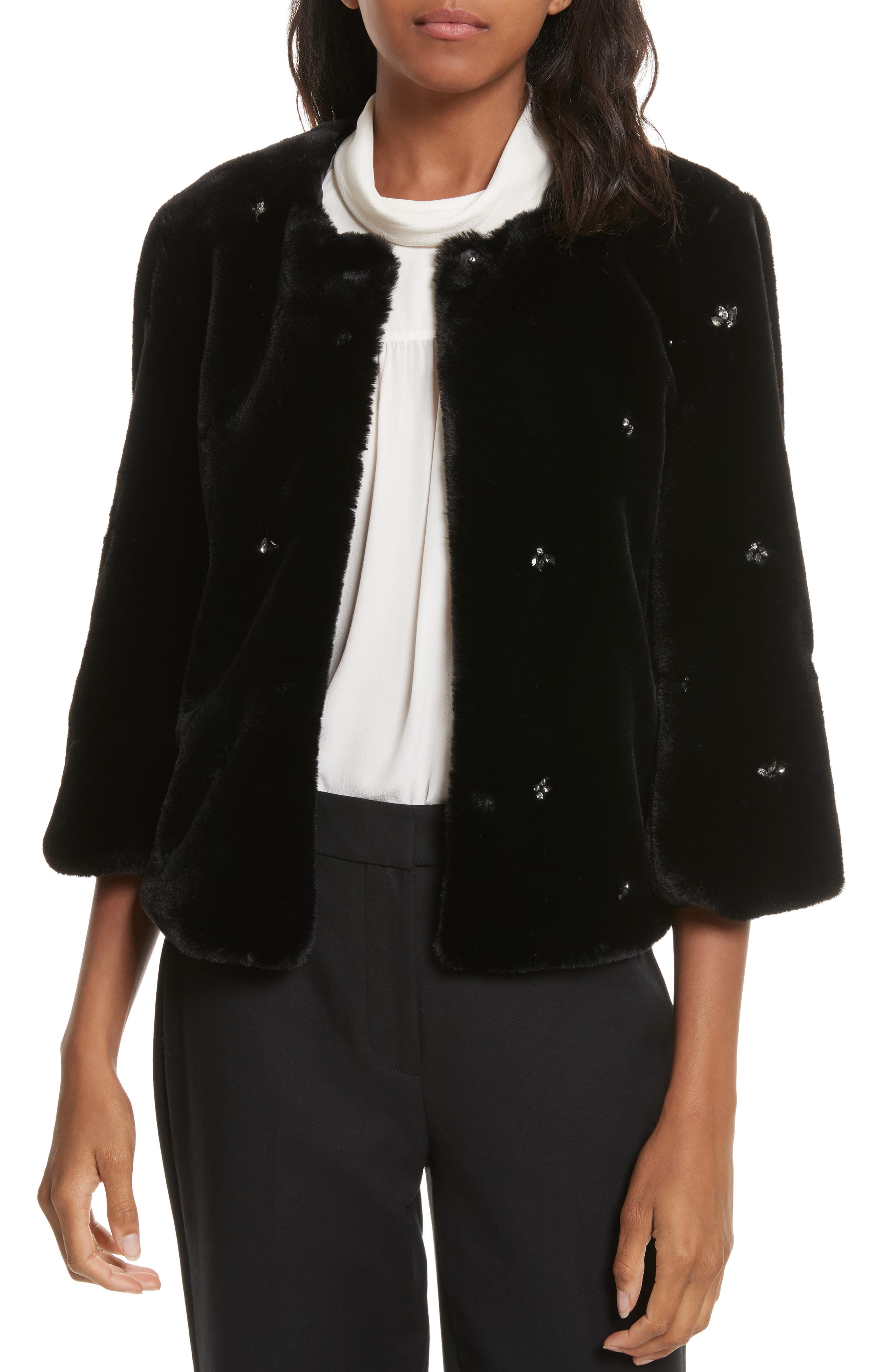 Nayland Embellished Faux Fur Jacket,                             Main thumbnail 1, color,