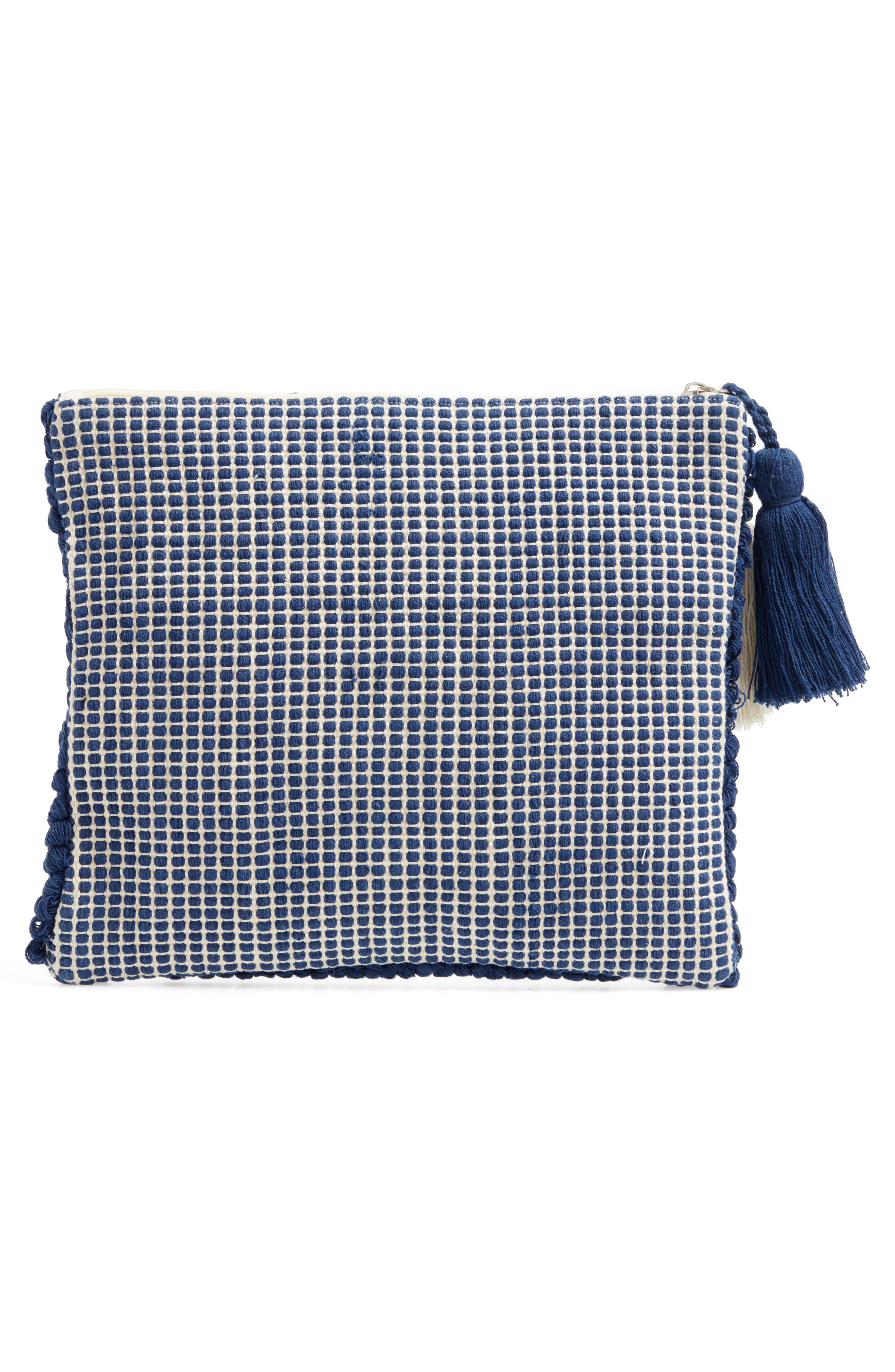 Palisades Tasseled Woven Clutch,                             Alternate thumbnail 14, color,