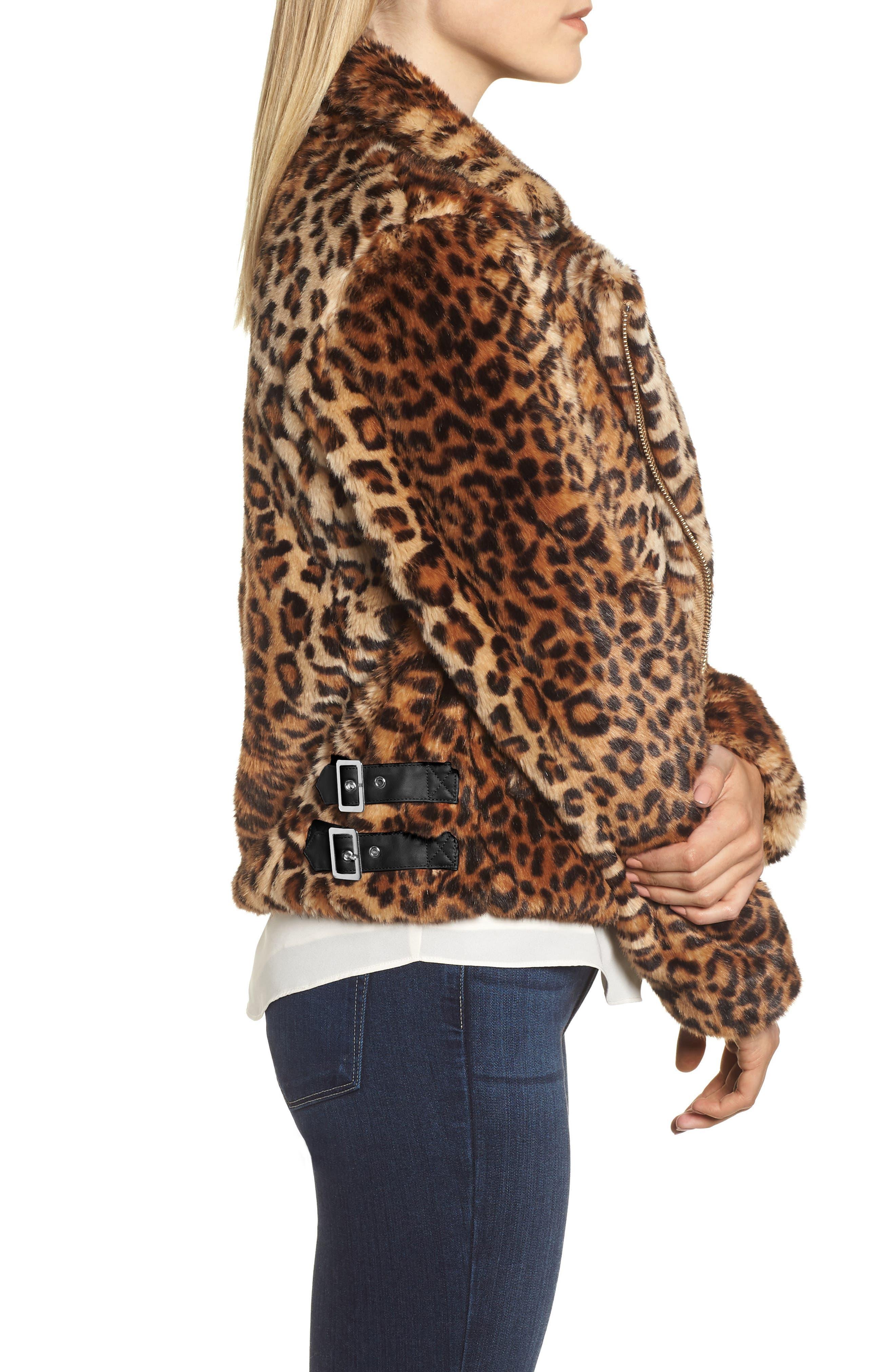 Faux Fur Moto Jacket,                             Alternate thumbnail 3, color,                             LEOPARD MULTI